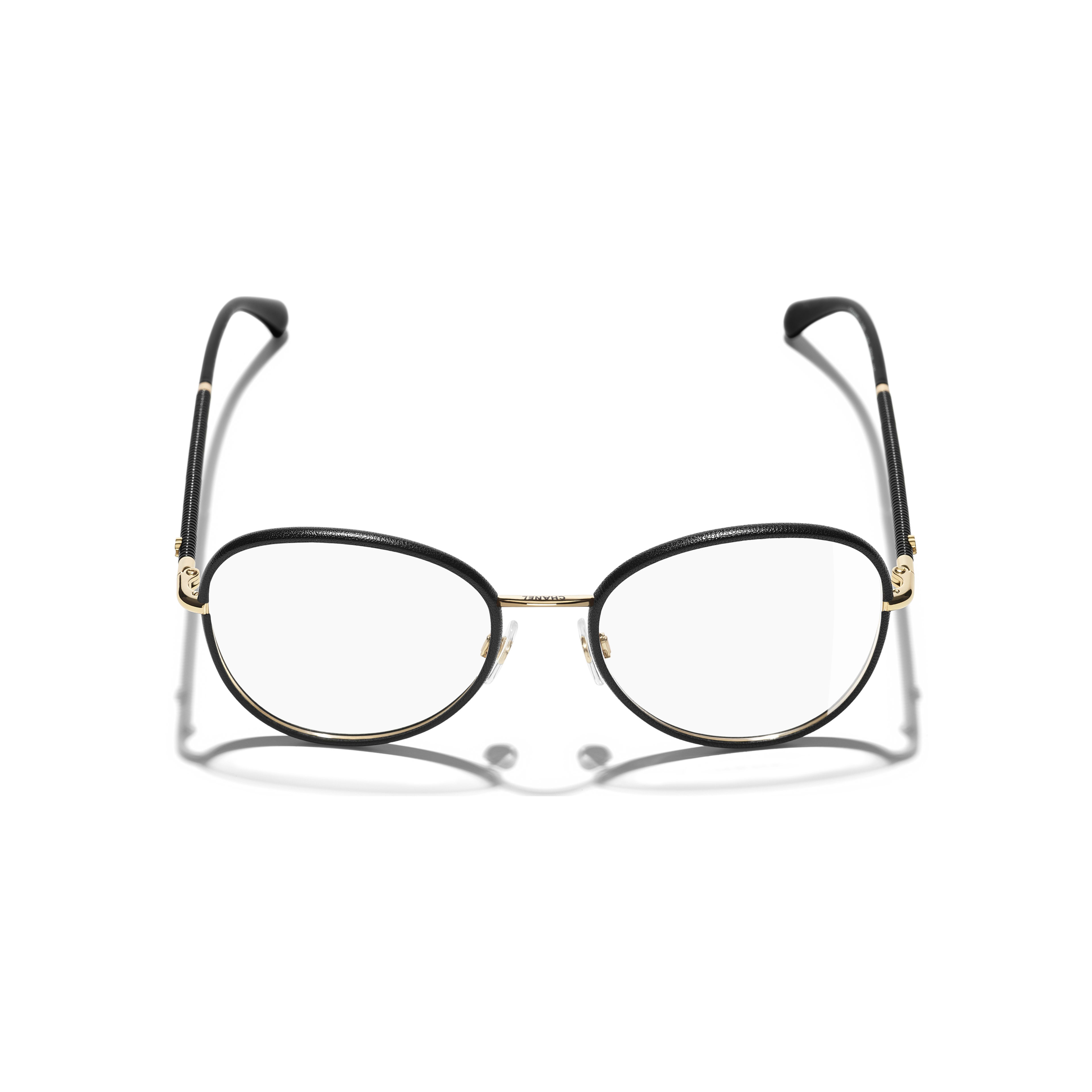 Round Eyeglasses - Black & Gold - Metal - Extra view - see standard sized version