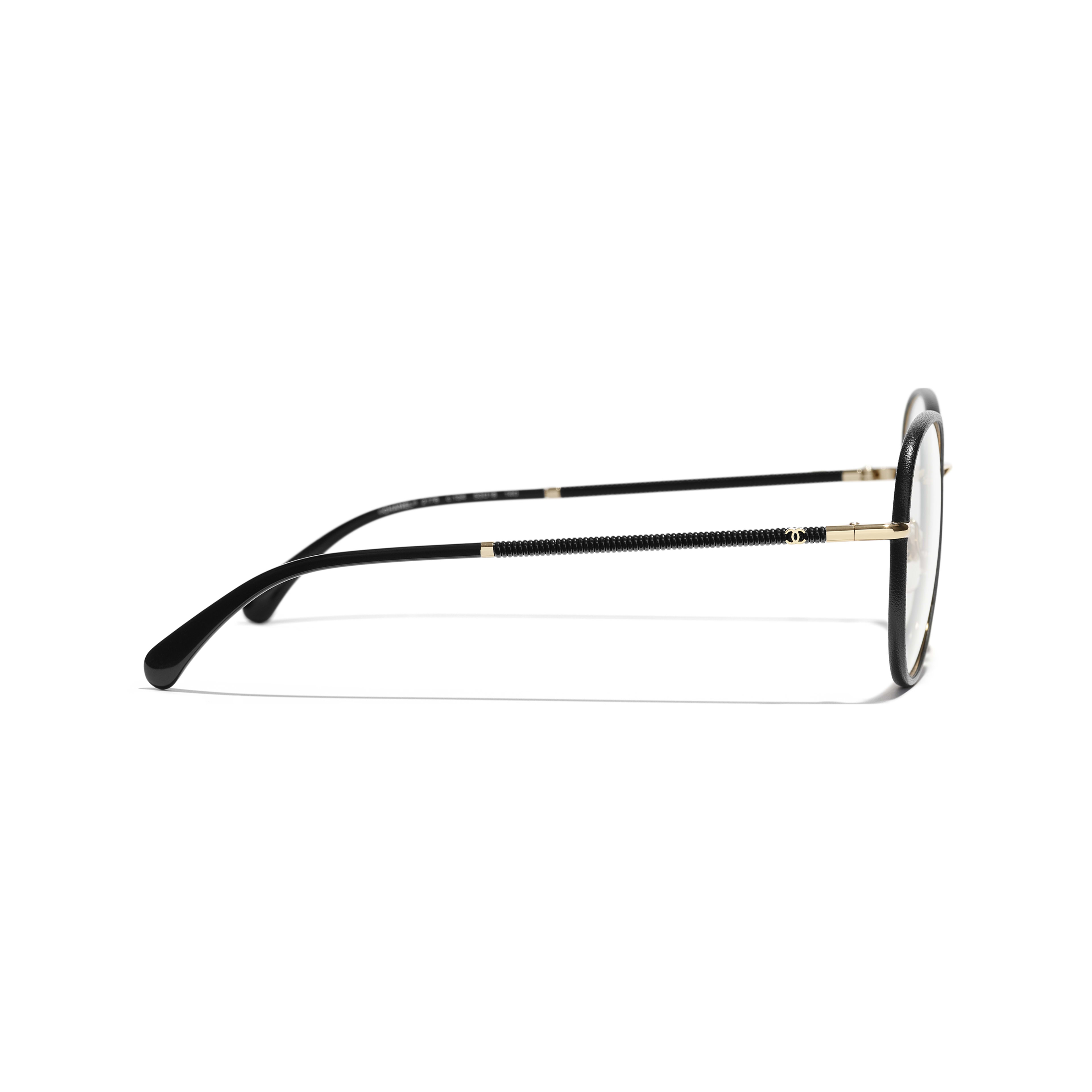 Round Eyeglasses - Black & Gold - Metal - Other view - see standard sized version