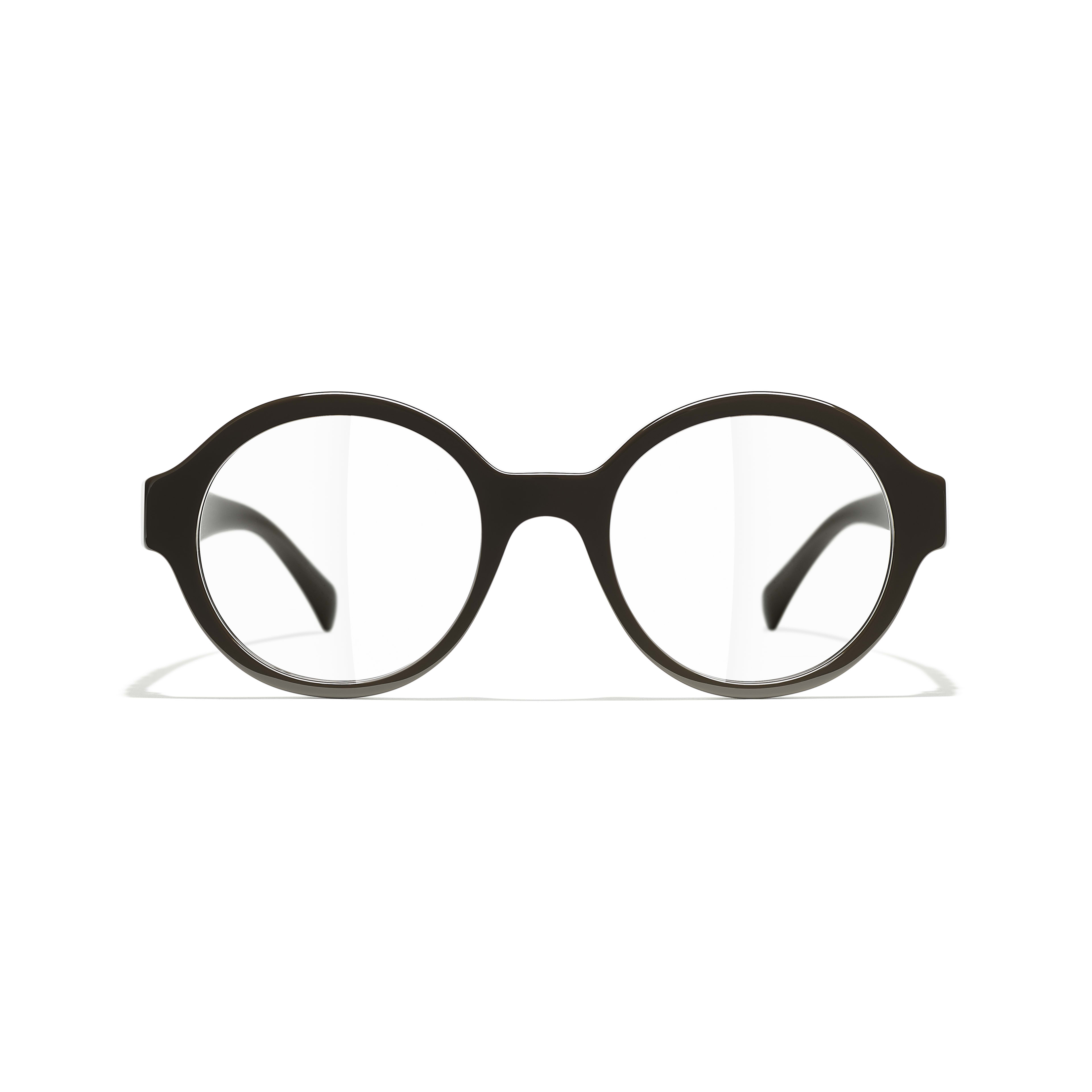 Round Eyeglasses - Brown - Acetate - CHANEL - Alternative view - see standard sized version