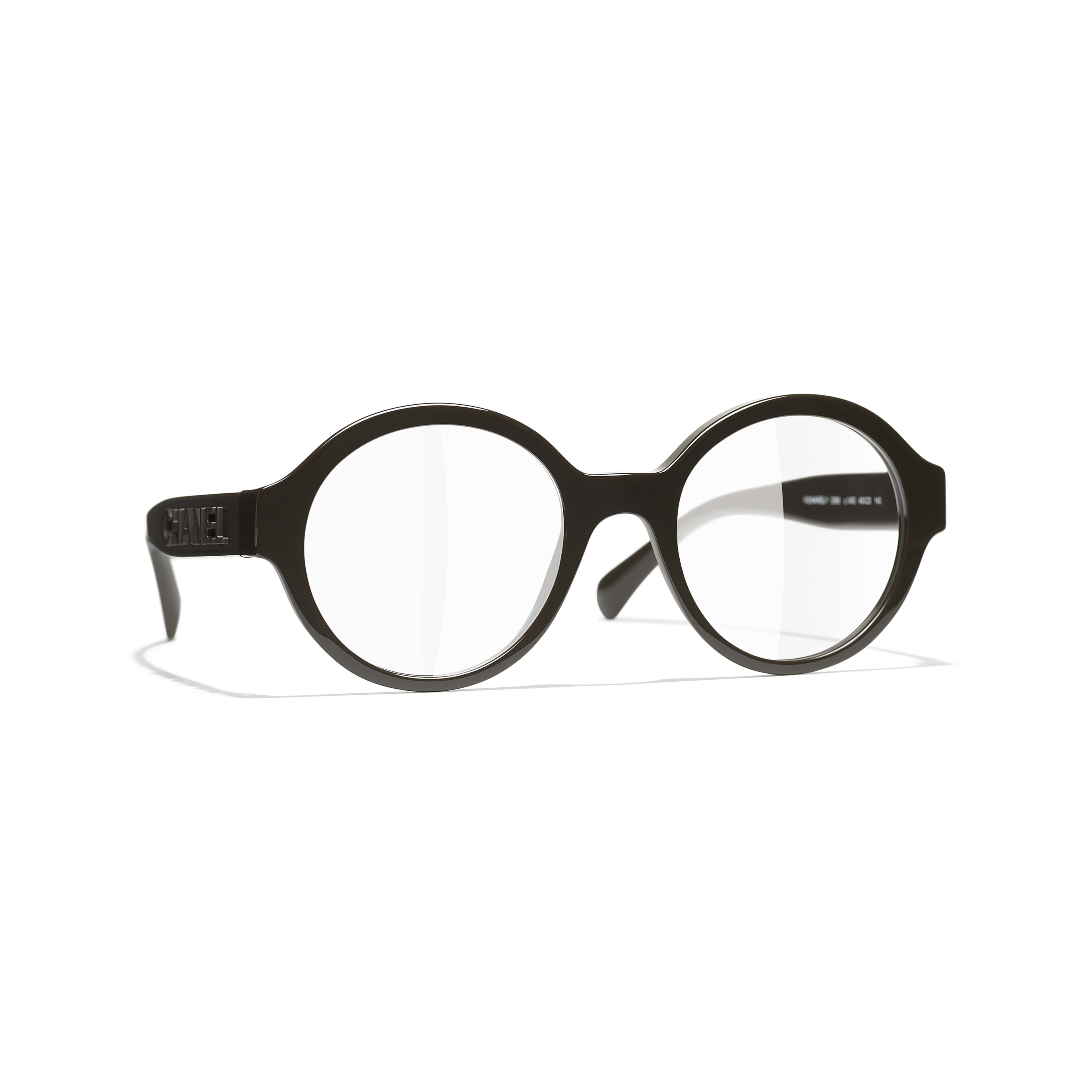 Round Eyeglasses - Brown - Acetate - CHANEL - Default view - see standard sized version