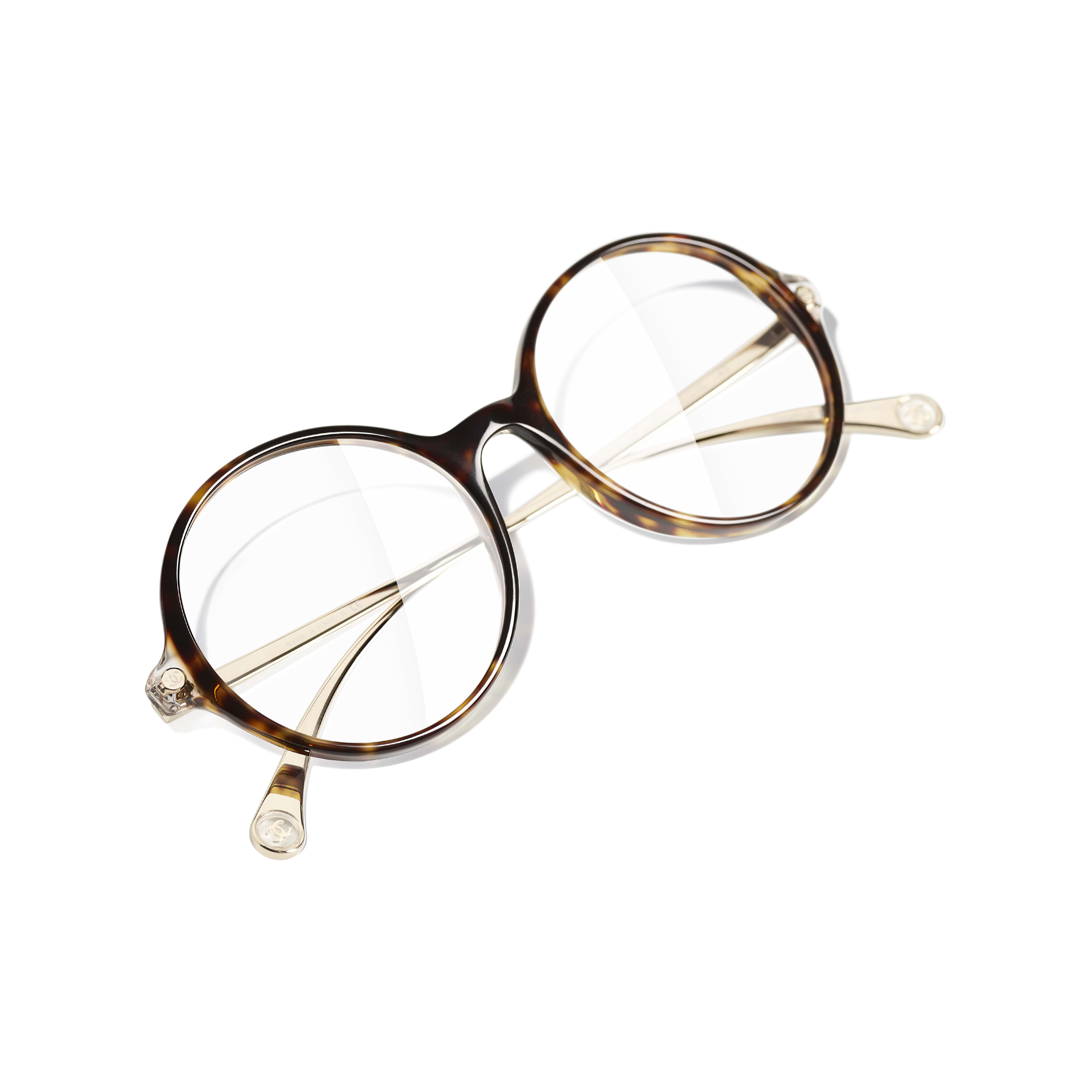 Round Eyeglasses - Dark Tortoise - Acetate & Metal - CHANEL - Extra view - see standard sized version