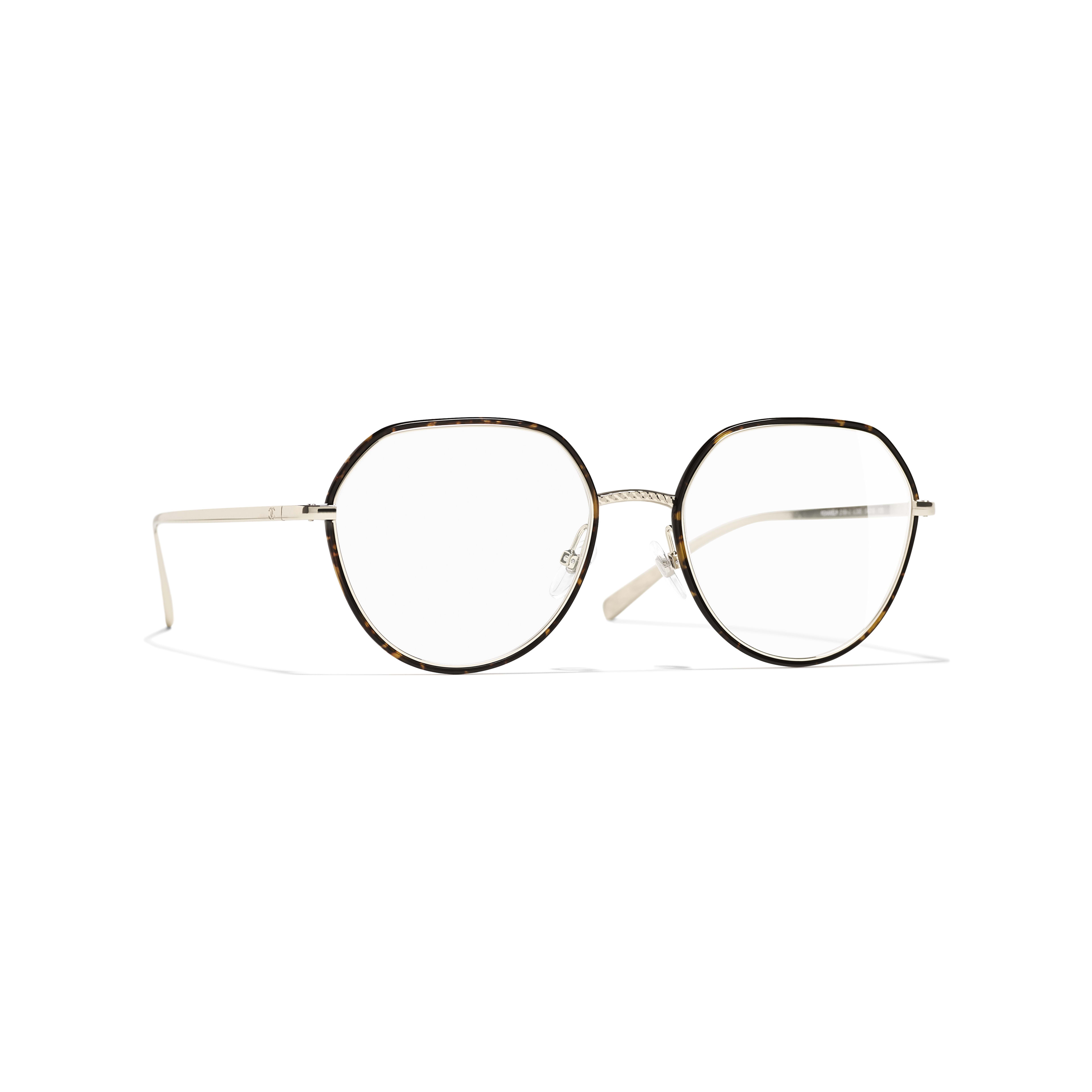 Round Eyeglasses - Gold & Tortoise - Metal - CHANEL - Default view - see standard sized version