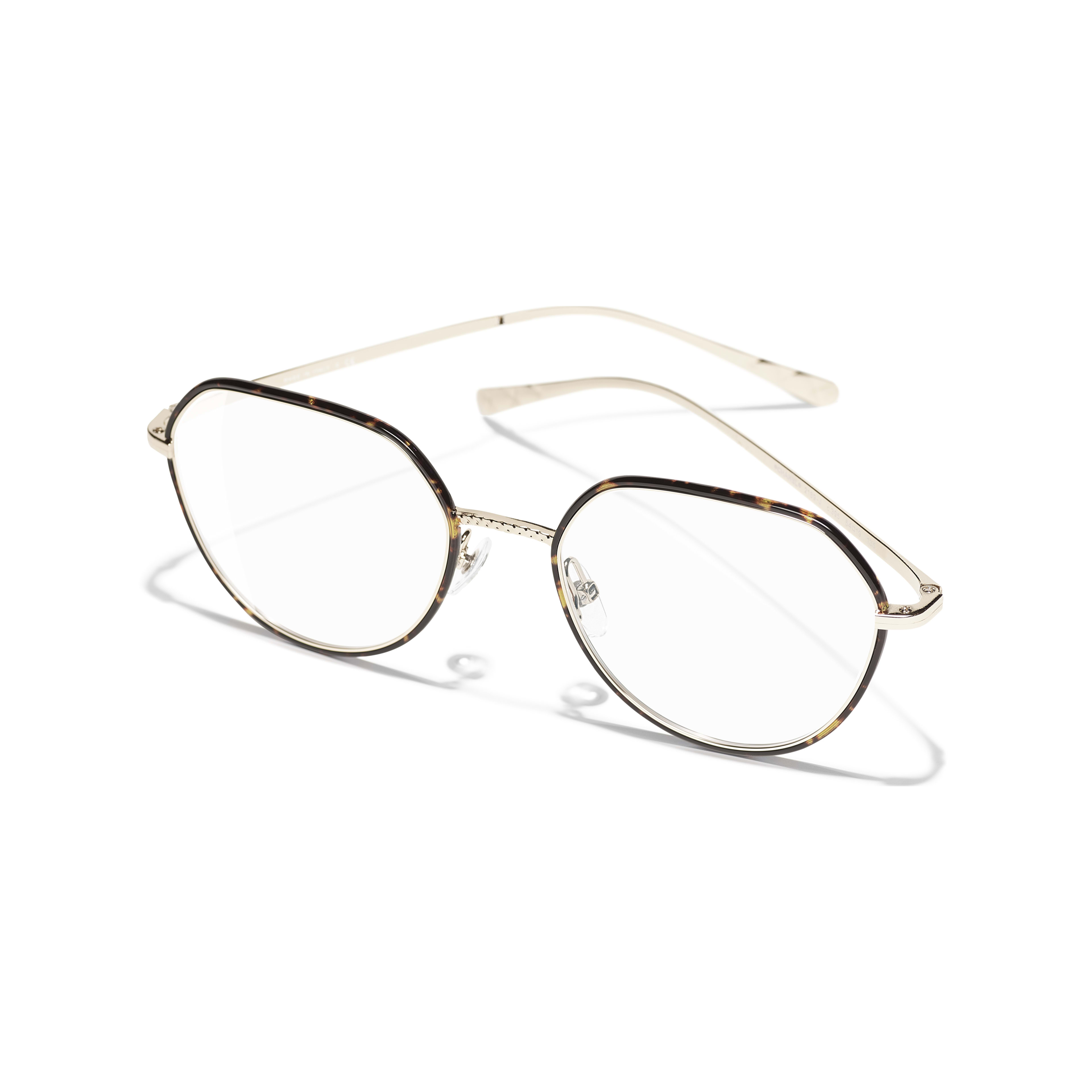 Round Eyeglasses - Gold & Tortoise - Metal - CHANEL - Extra view - see standard sized version