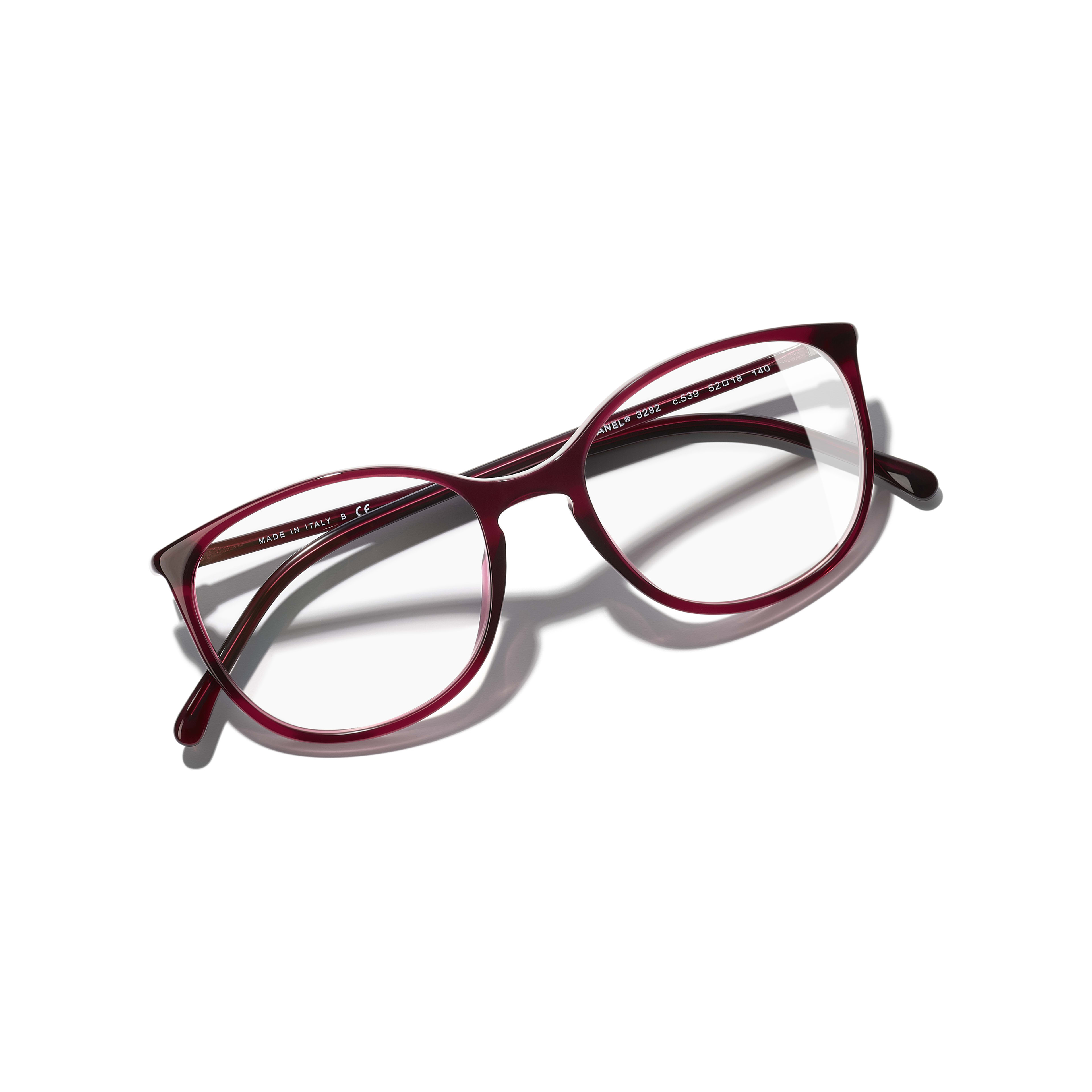Round Eyeglasses - Red - Acetate - Extra view - see standard sized version