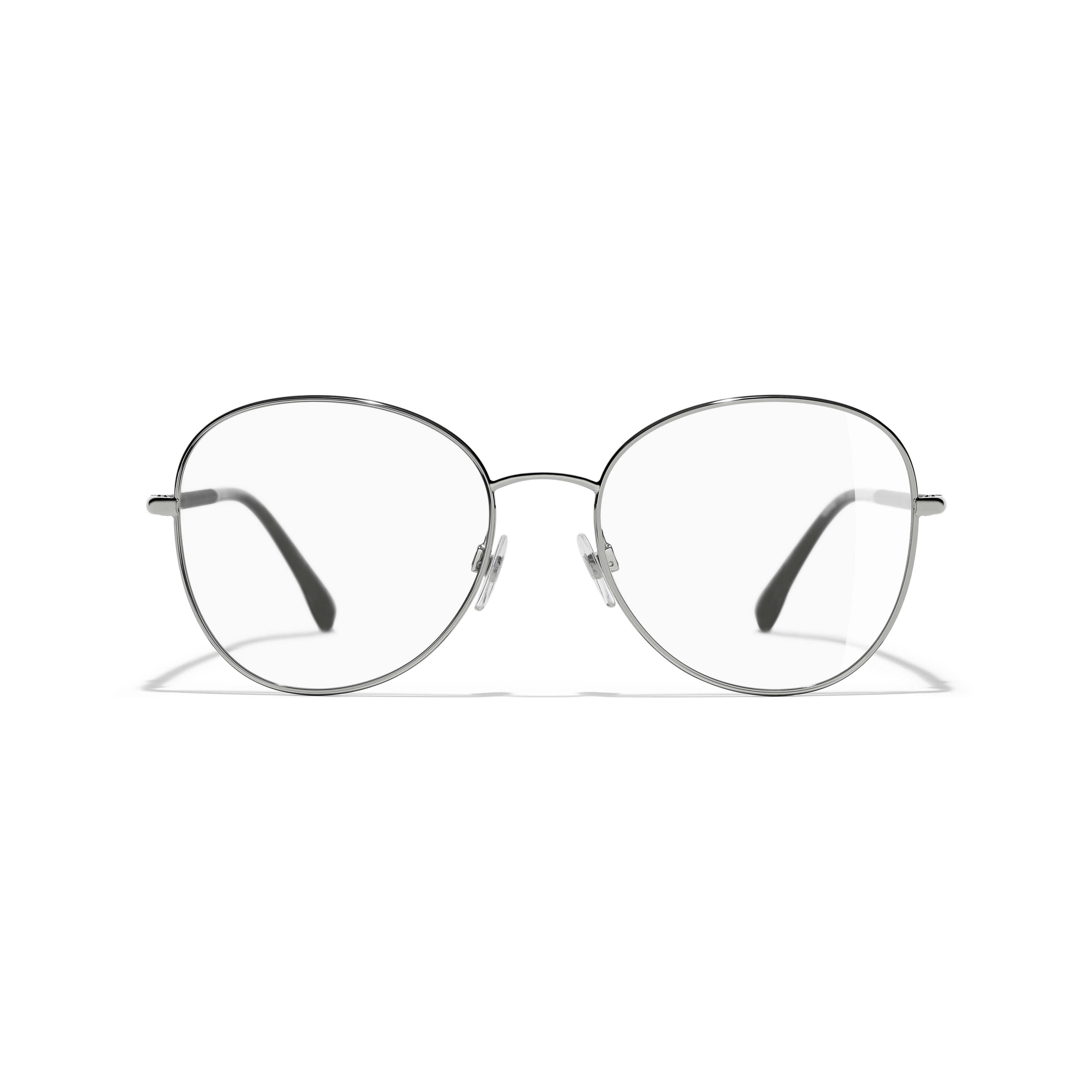 Round Eyeglasses - Silver - Metal - Alternative view - see standard sized version