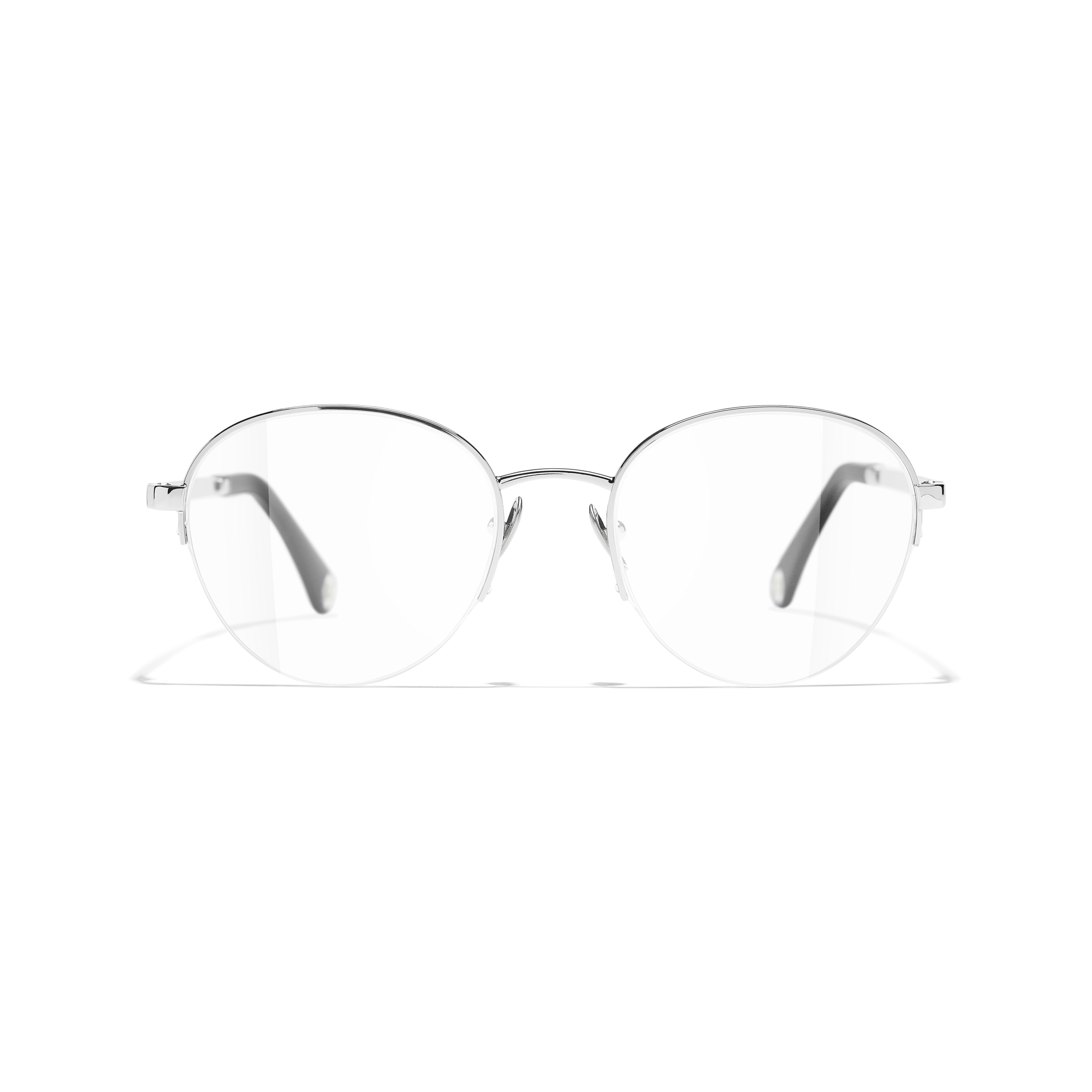 Round Eyeglasses - Silver - Metal - CHANEL - Alternative view - see standard sized version