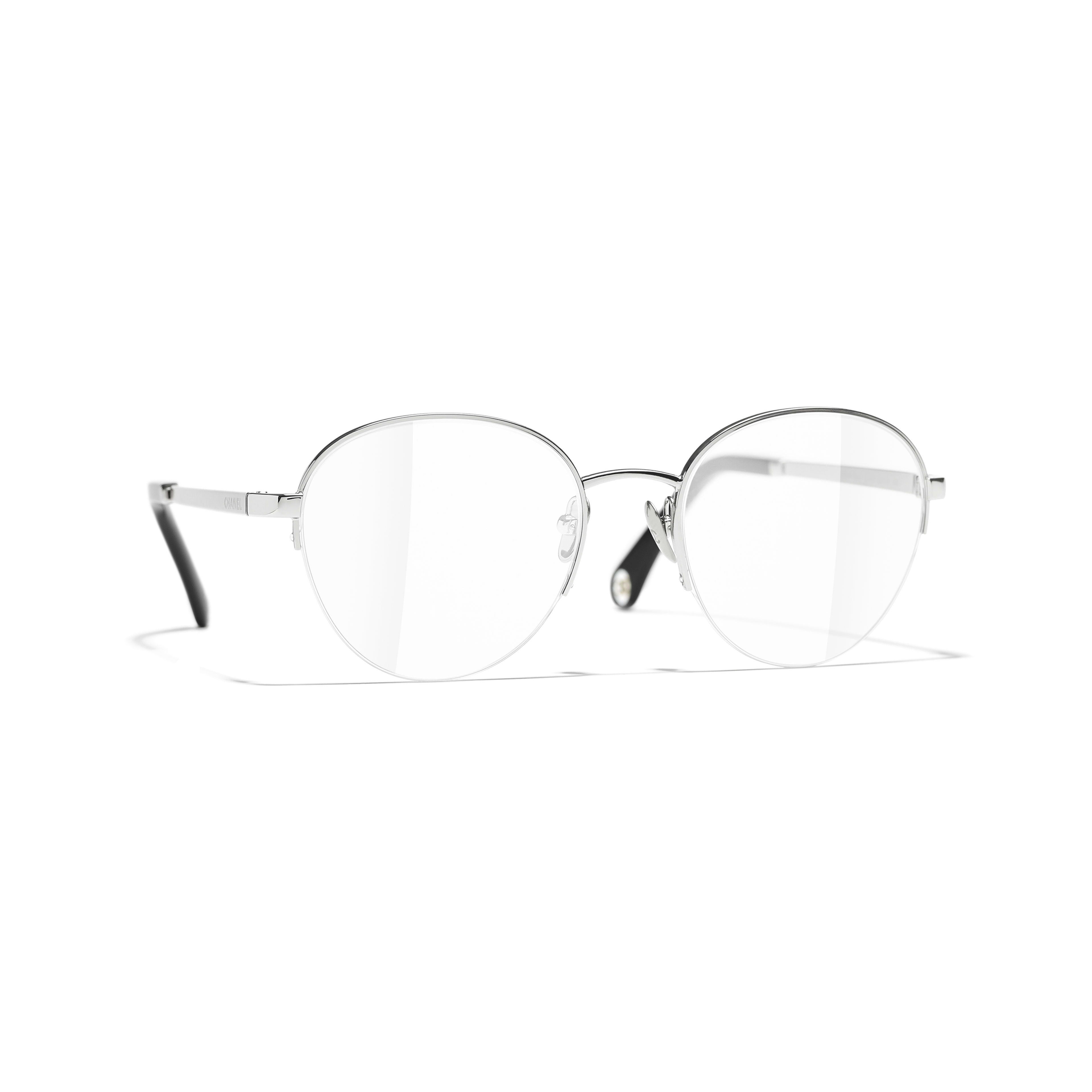 Round Eyeglasses - Silver - Metal - CHANEL - Default view - see standard sized version