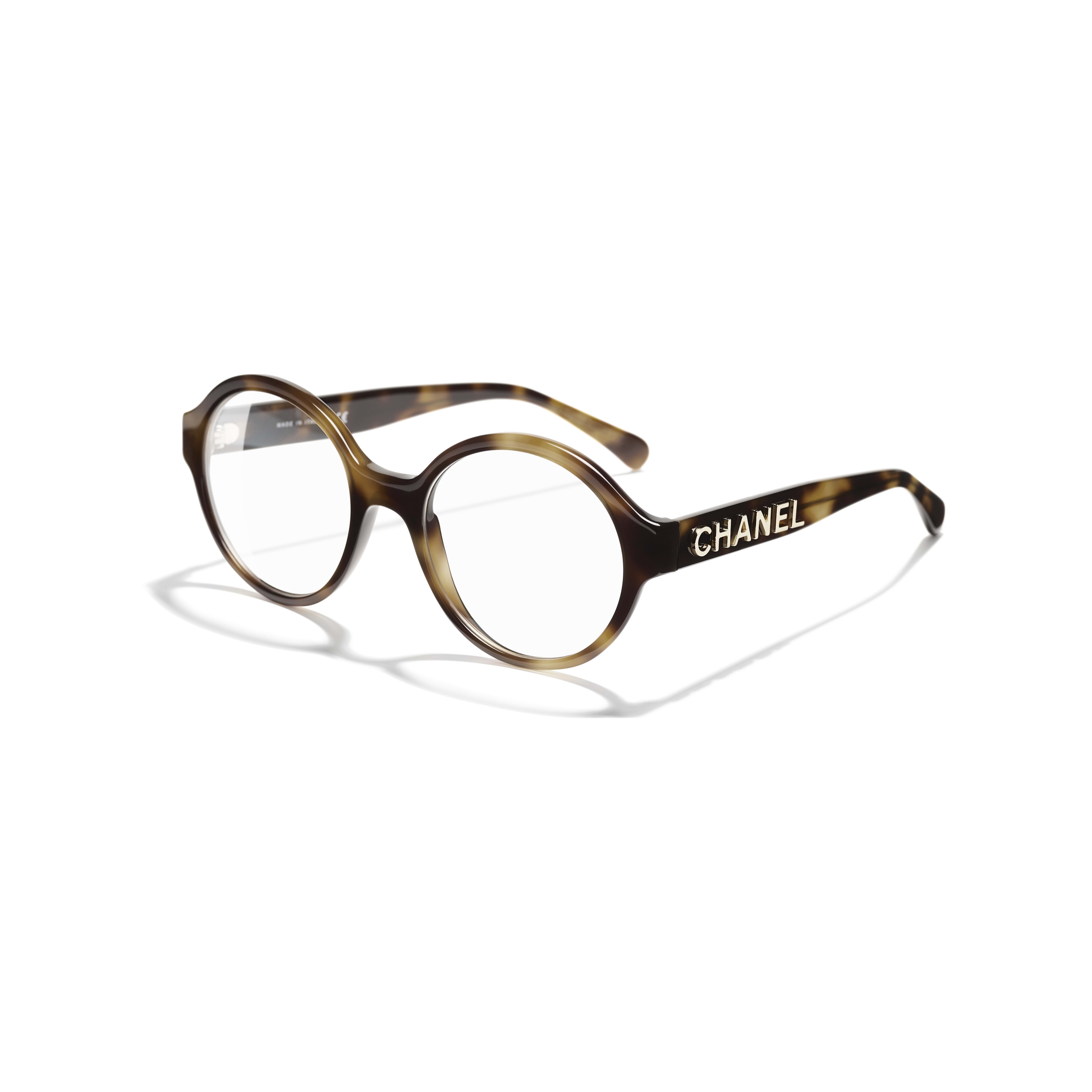 Round Eyeglasses - Tortoise - Acetate - CHANEL - Extra view - see standard sized version
