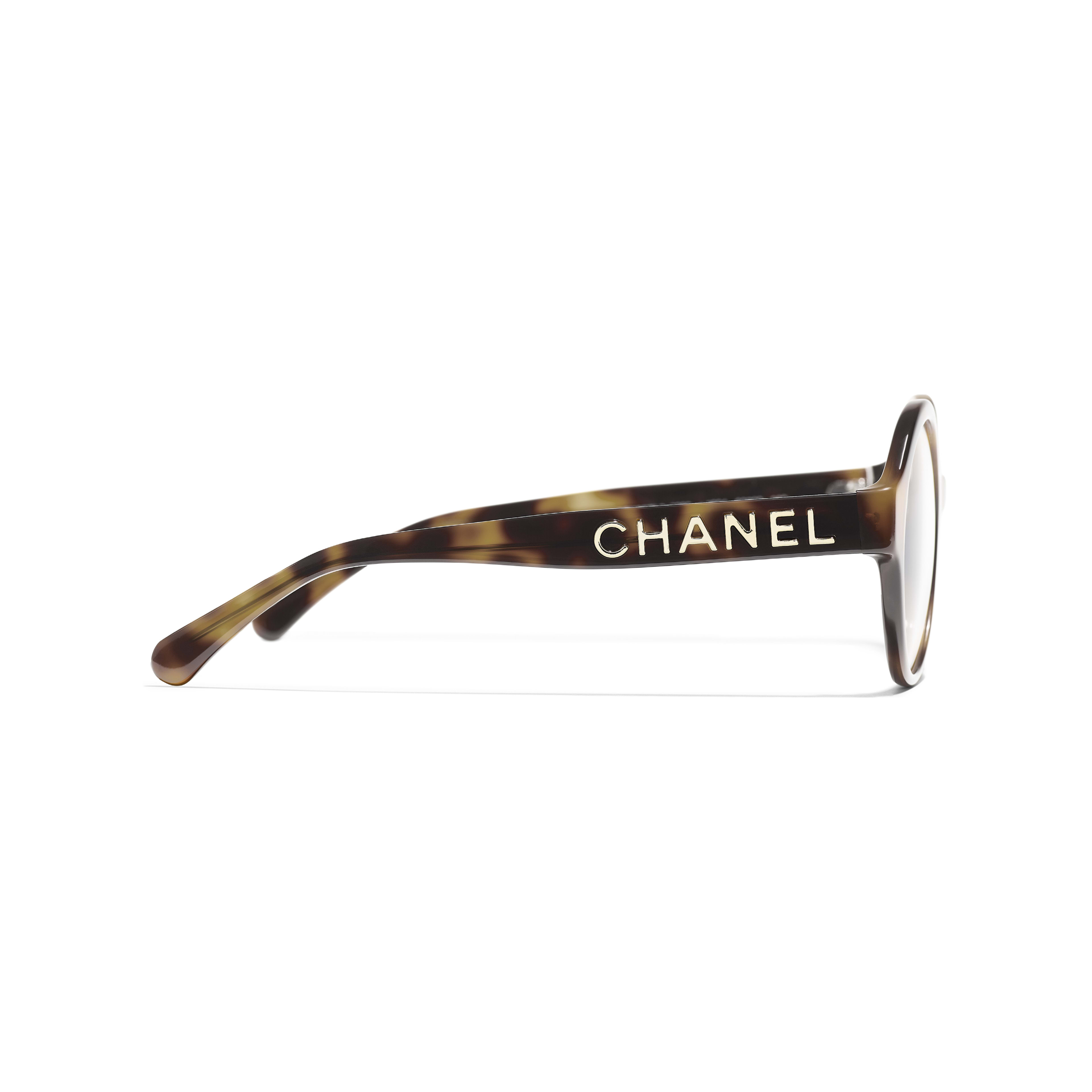 Round Eyeglasses - Tortoise - Acetate - CHANEL - Other view - see standard sized version