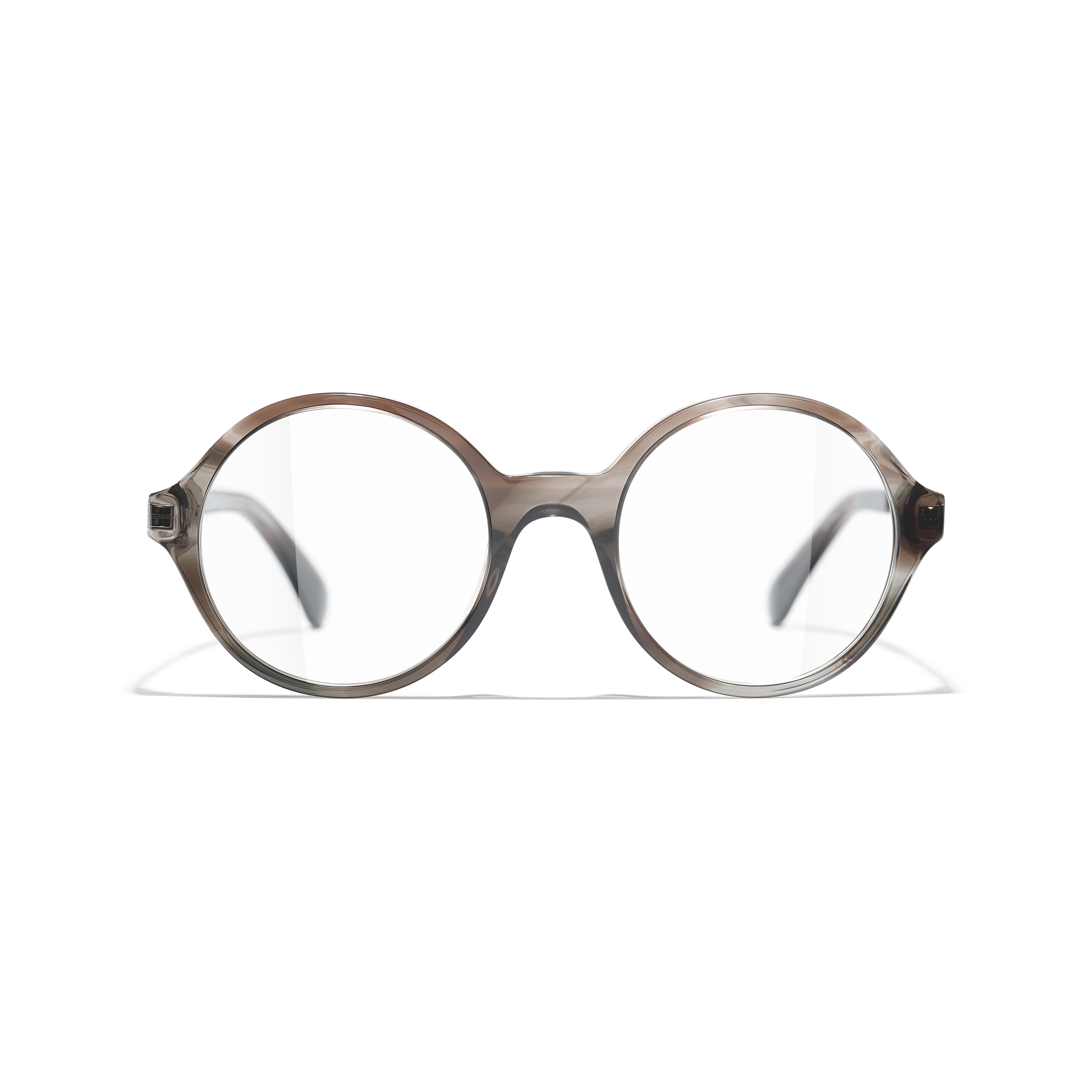 Round Eyeglasses - Transparent Grey - Acetate & Metal - CHANEL - Alternative view - see standard sized version