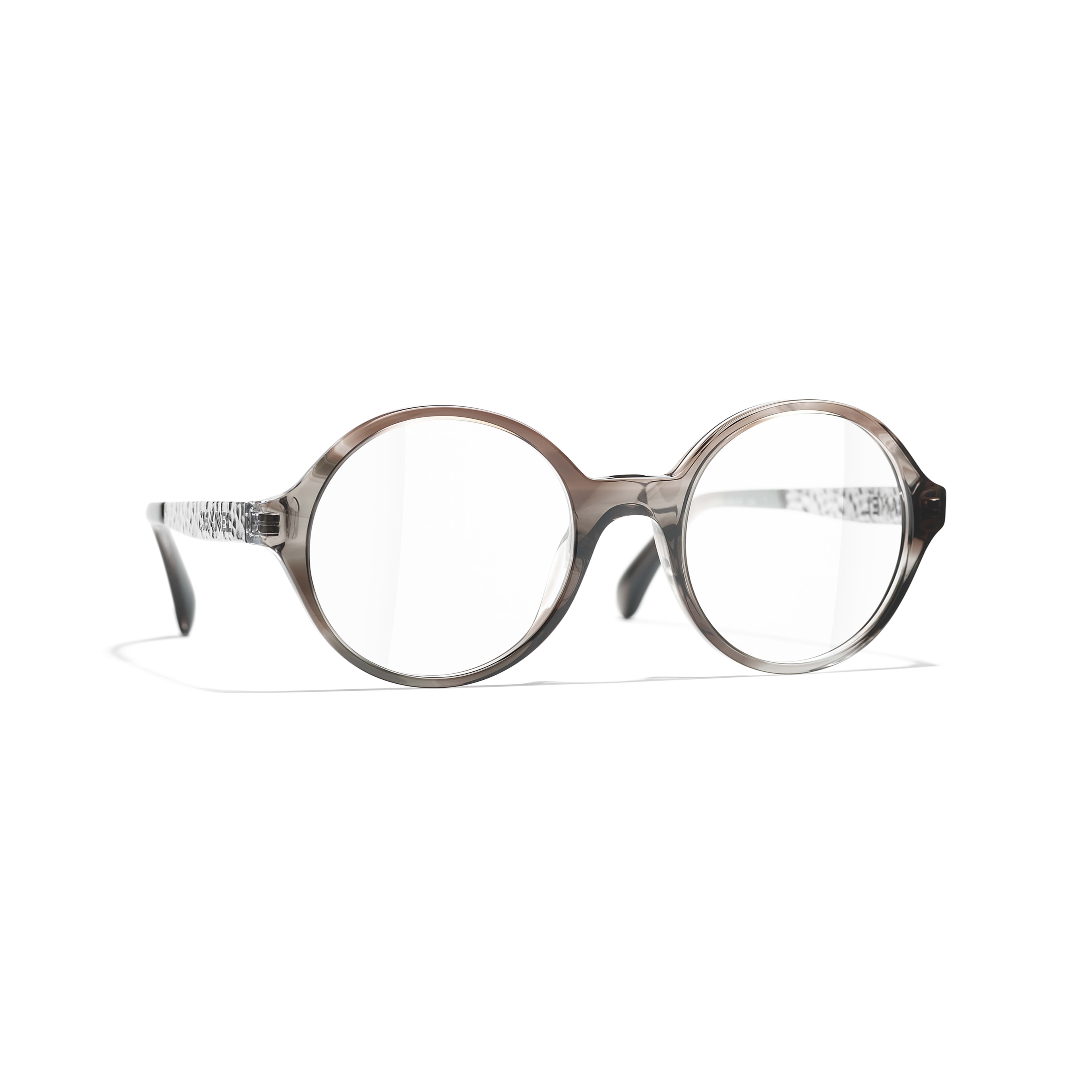 Round Eyeglasses - Transparent Grey - Acetate & Metal - CHANEL - Default view - see standard sized version