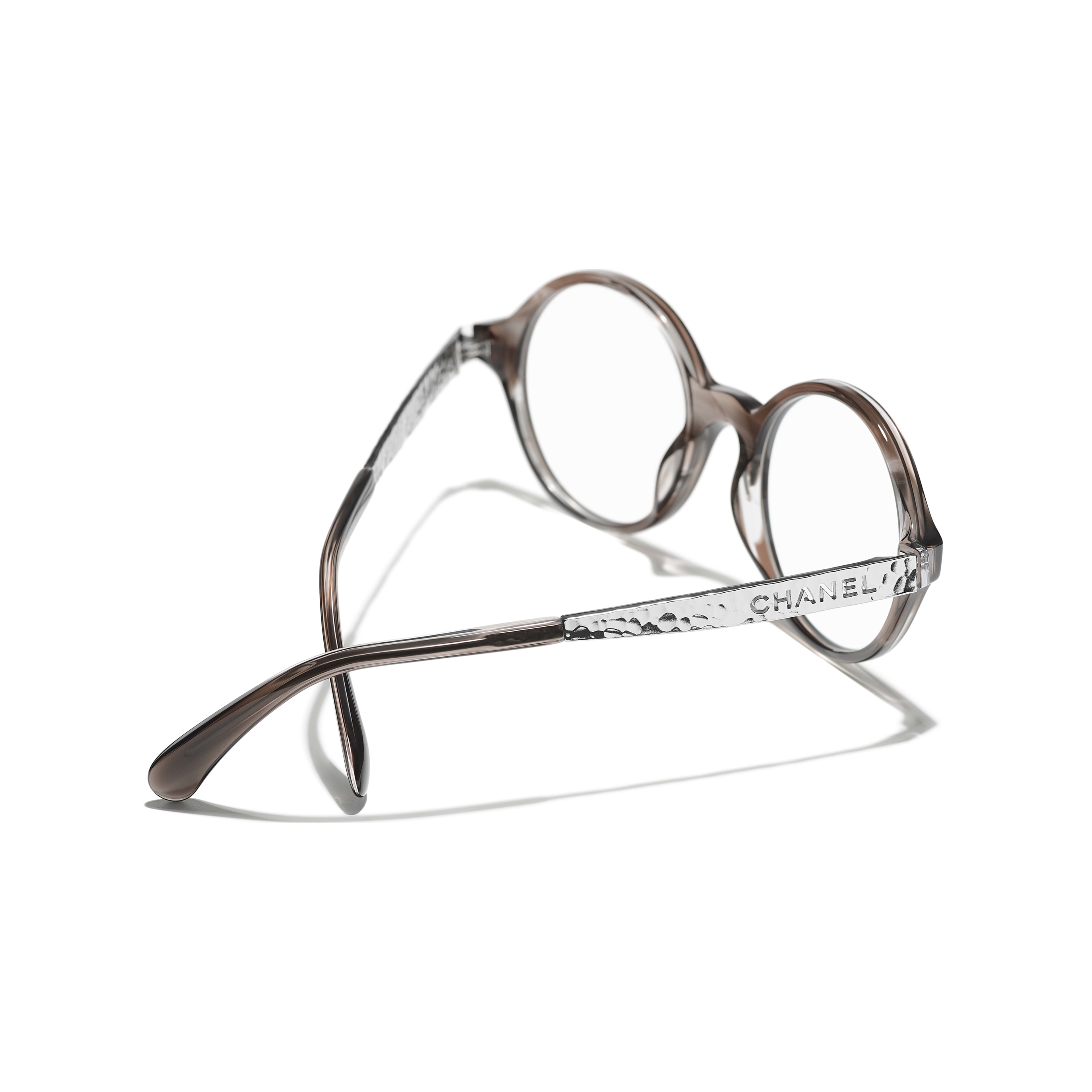 Round Eyeglasses - Transparent Grey - Acetate & Metal - CHANEL - Extra view - see standard sized version