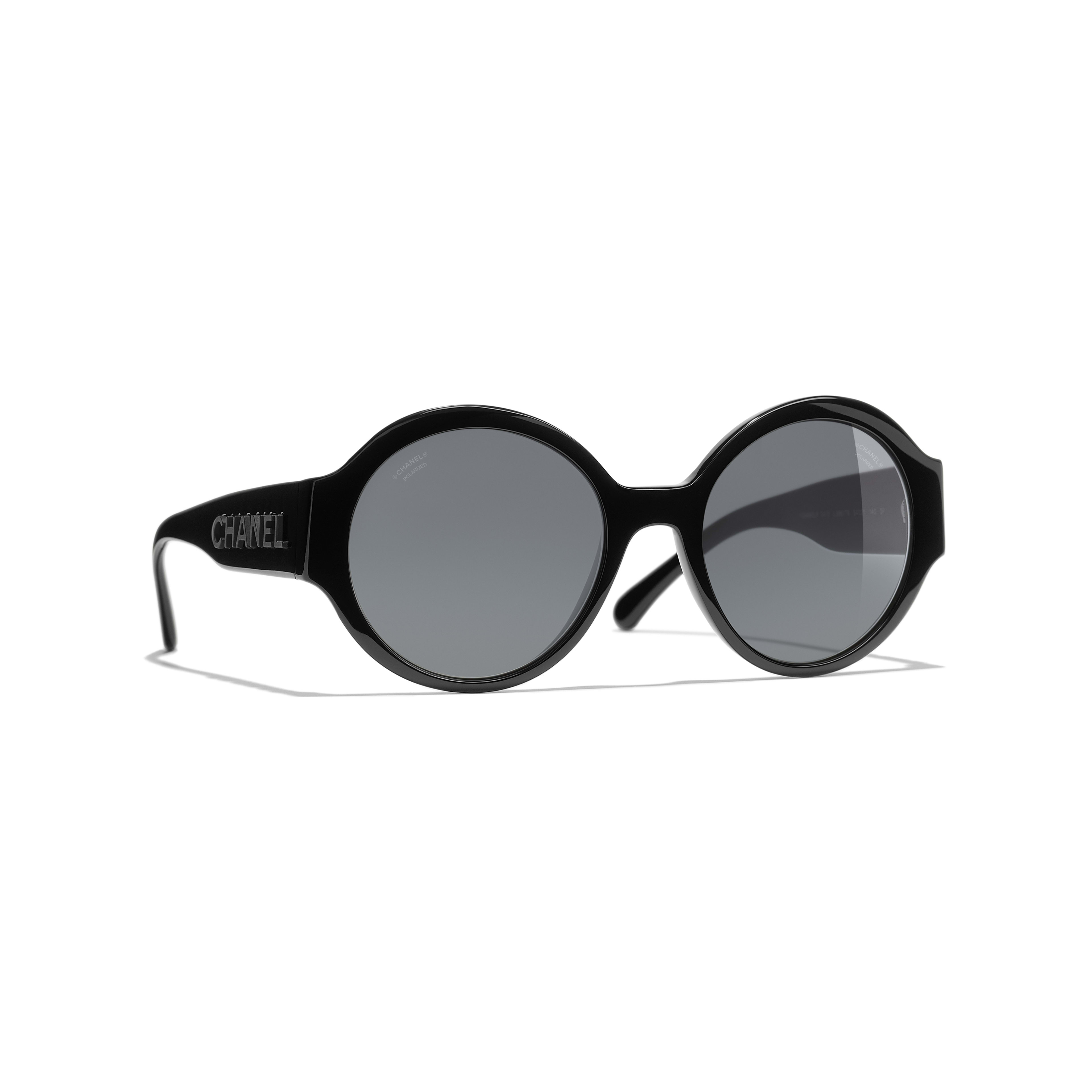 Round Sunglasses - Black - Acetate - CHANEL - Default view - see standard sized version