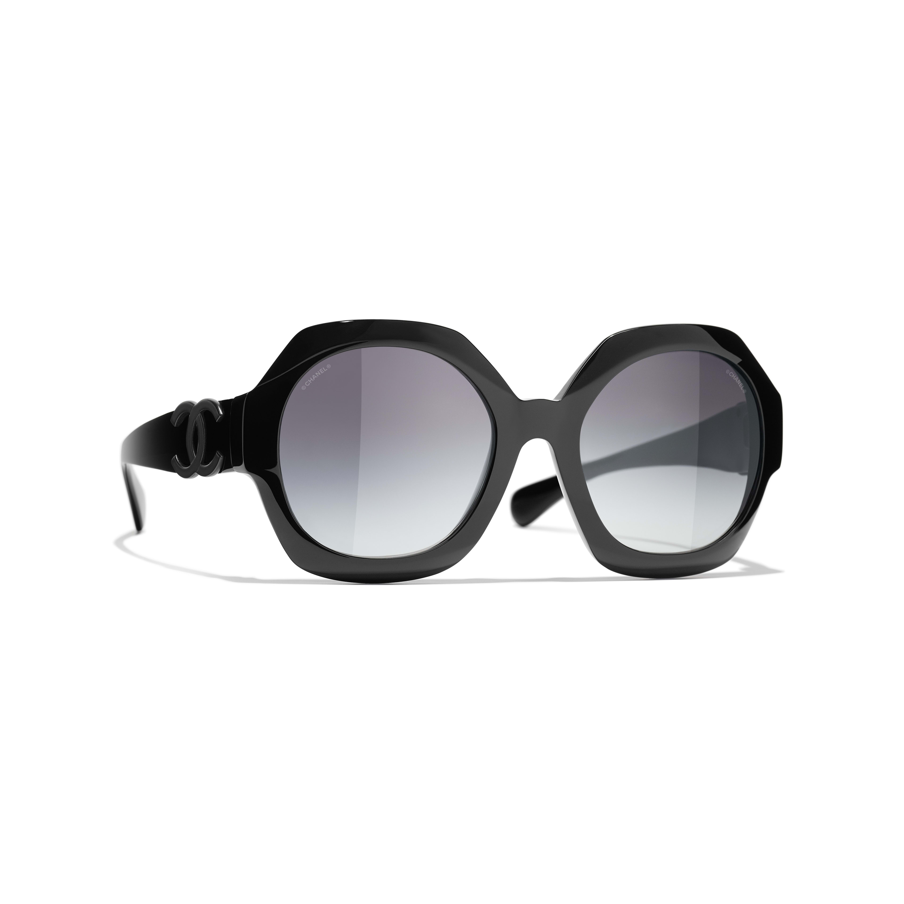 Ronde zonnebril - Zwart - Acetaat - CHANEL - Standaardweergave - zie versie op standaardgrootte