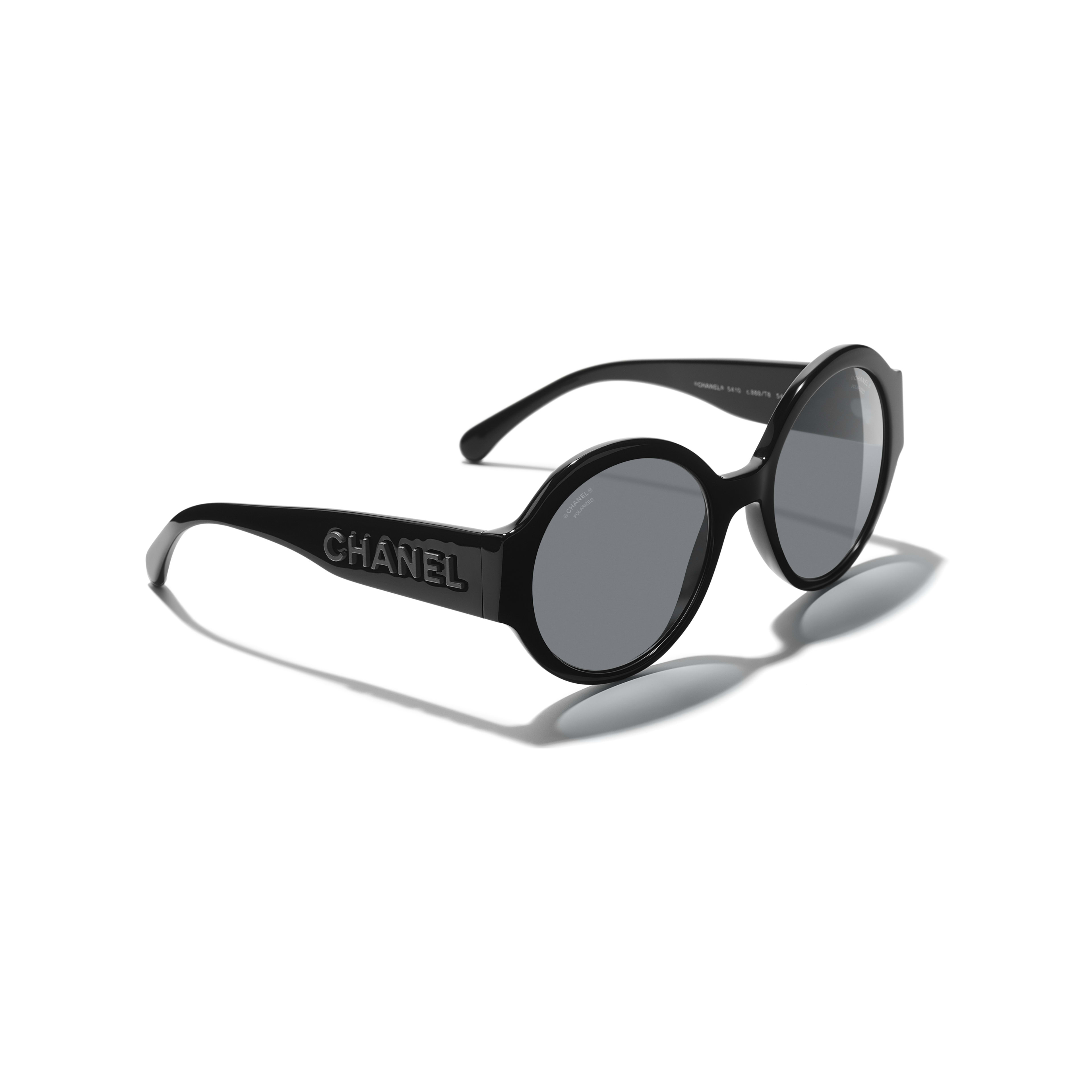 Round Sunglasses - Black - Acetate - CHANEL - Extra view - see standard sized version