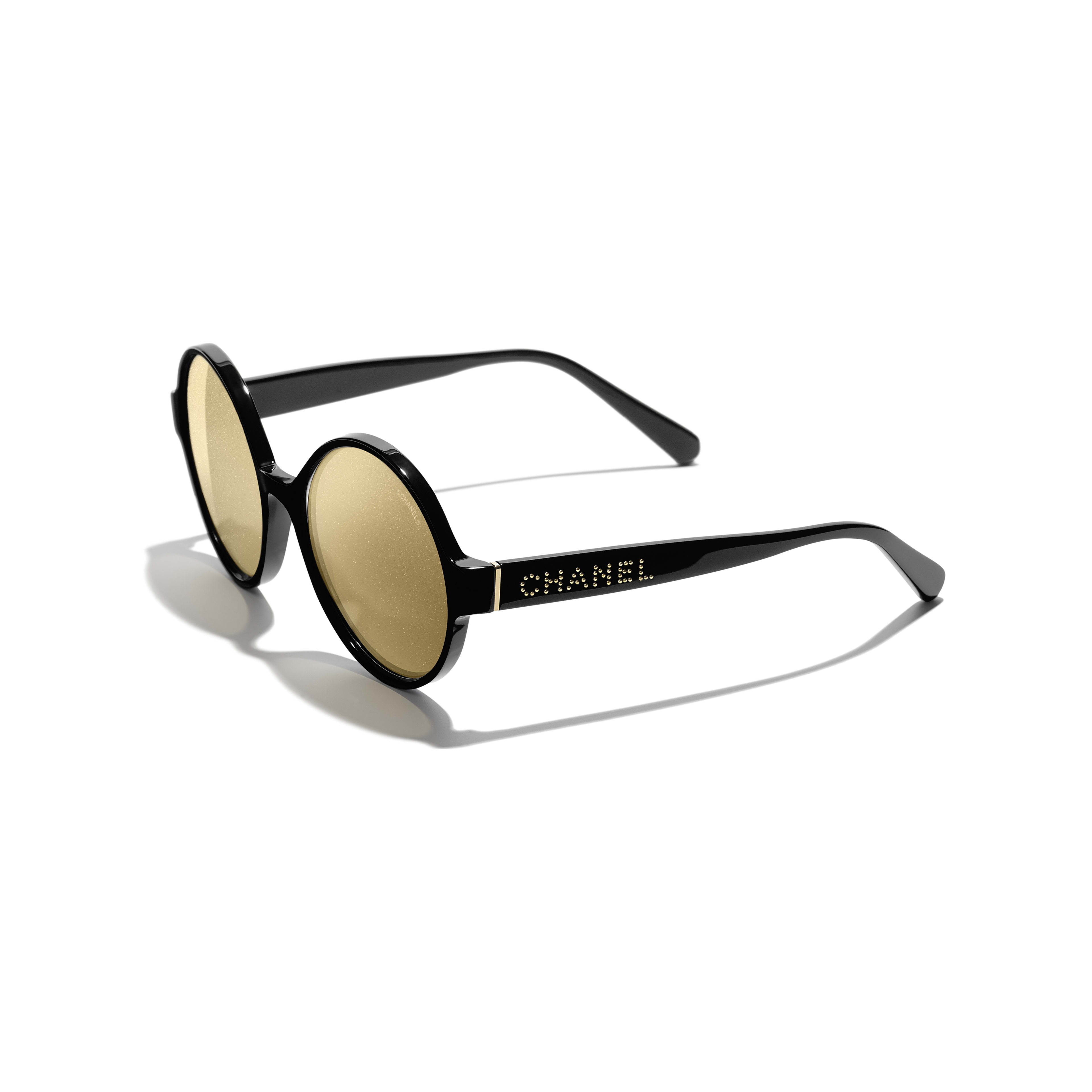 Round Sunglasses - Black - Acetate - Extra view - see standard sized version
