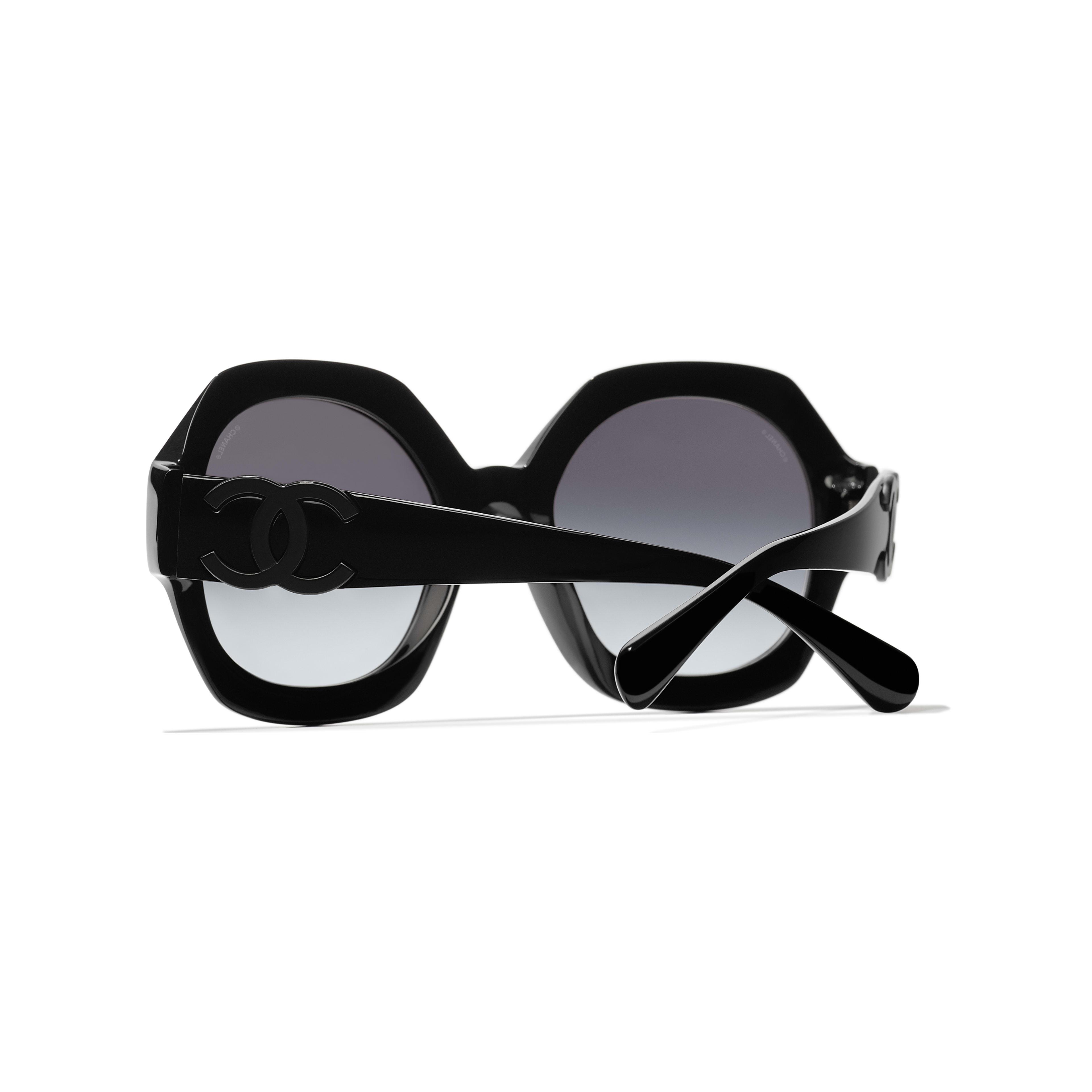 Ronde zonnebril - Zwart - Acetaat - CHANEL - Extra weergave - zie versie op standaardgrootte