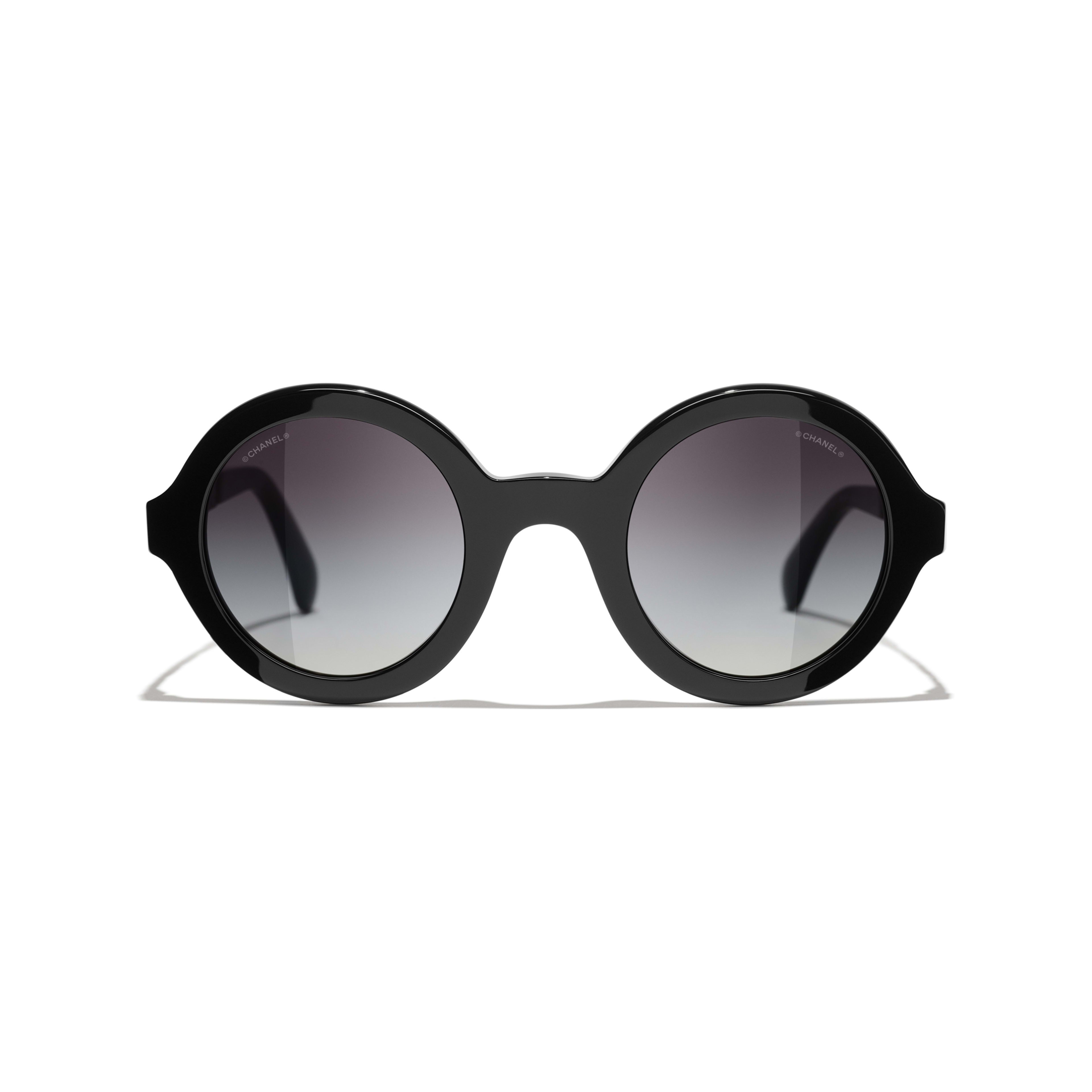 Round Sunglasses - Black - Acetate & Metal - CHANEL - Alternative view - see standard sized version