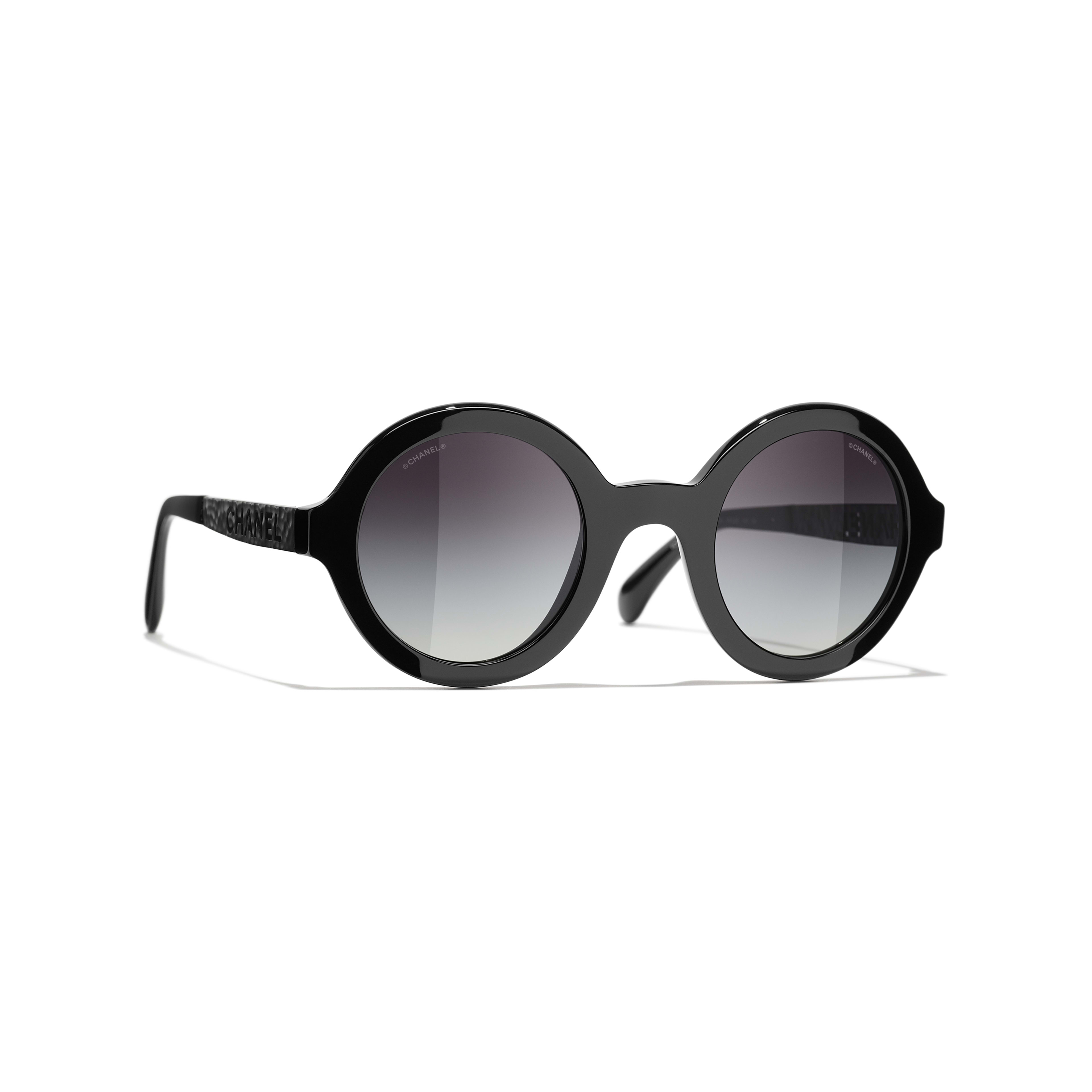 Round Sunglasses - Black - Acetate & Metal - CHANEL - Default view - see standard sized version