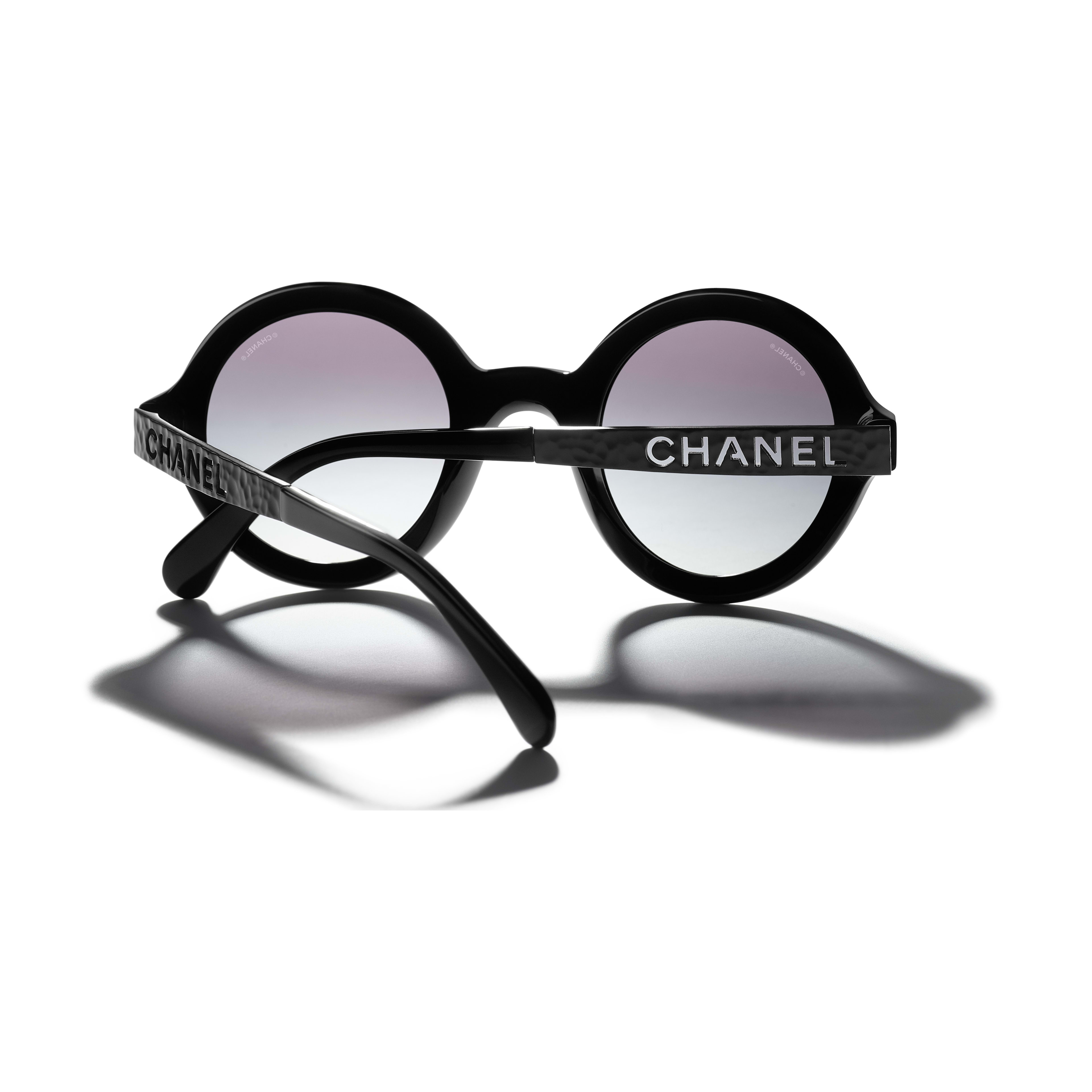 Round Sunglasses - Black - Acetate & Metal - CHANEL - Extra view - see standard sized version