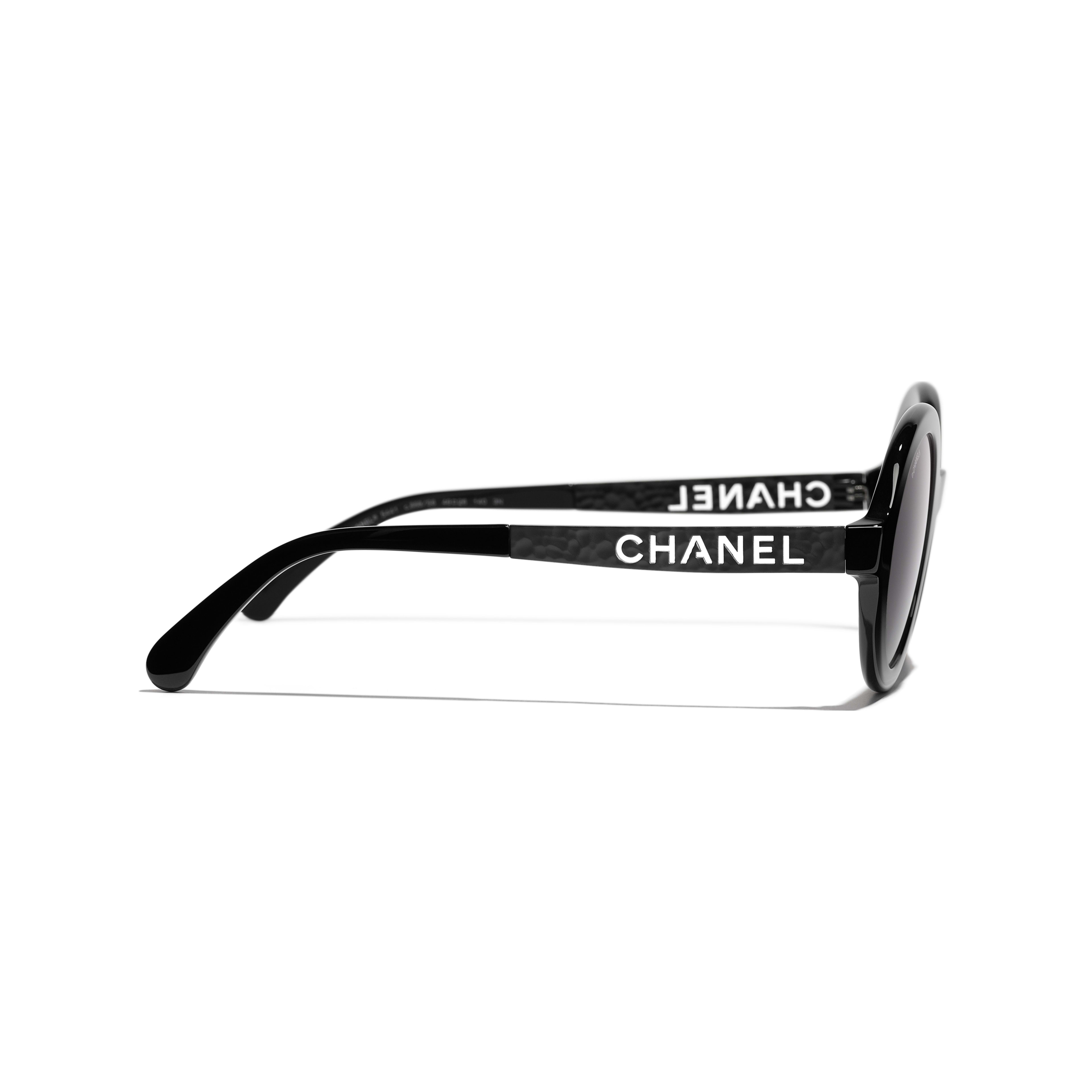 Round Sunglasses - Black - Acetate & Metal - CHANEL - Other view - see standard sized version