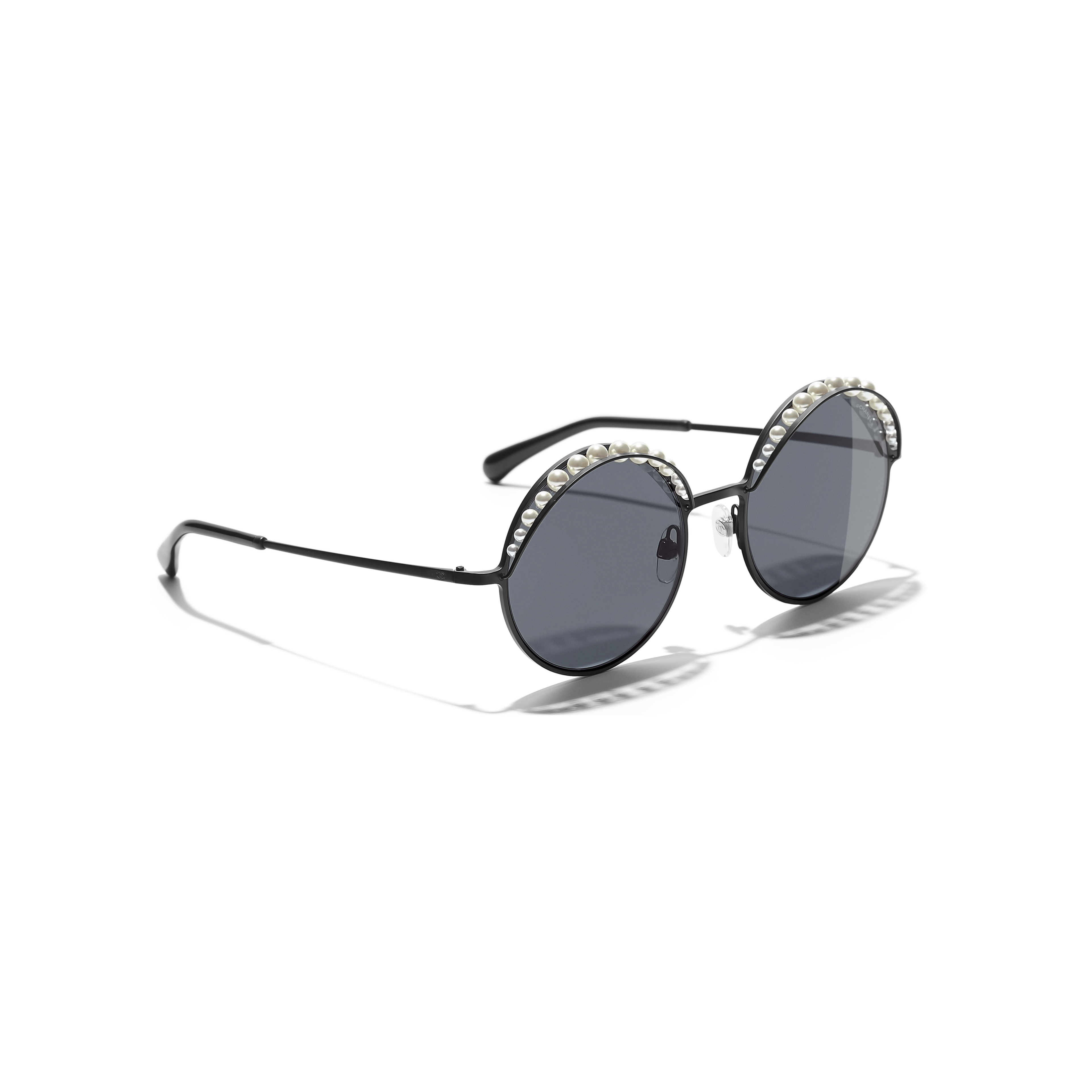 Round Sunglasses - Black - Metal & Imitation Pearls - Extra view - see standard sized version