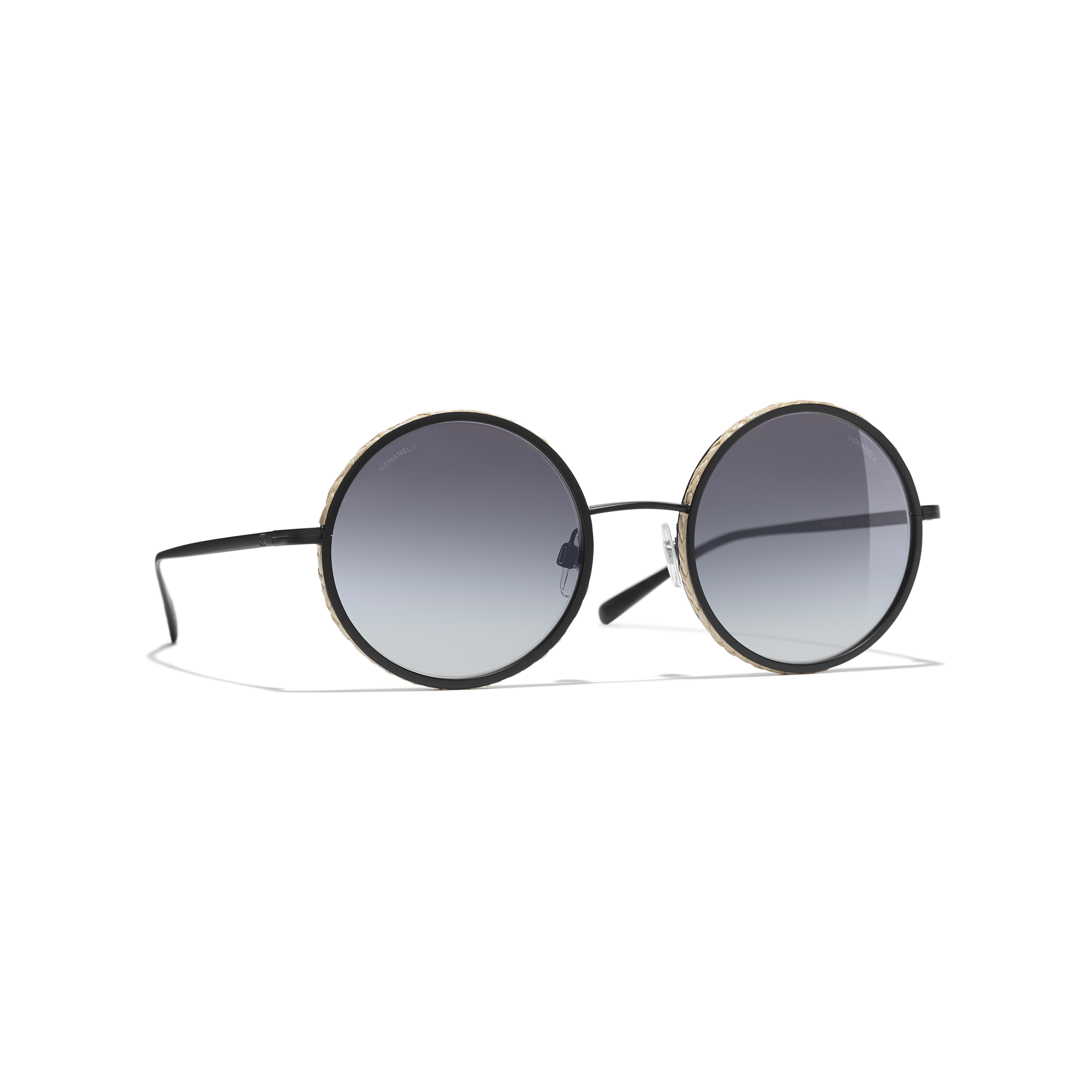 Round Sunglasses - Black - Metal & Rope - CHANEL - Default view - see standard sized version