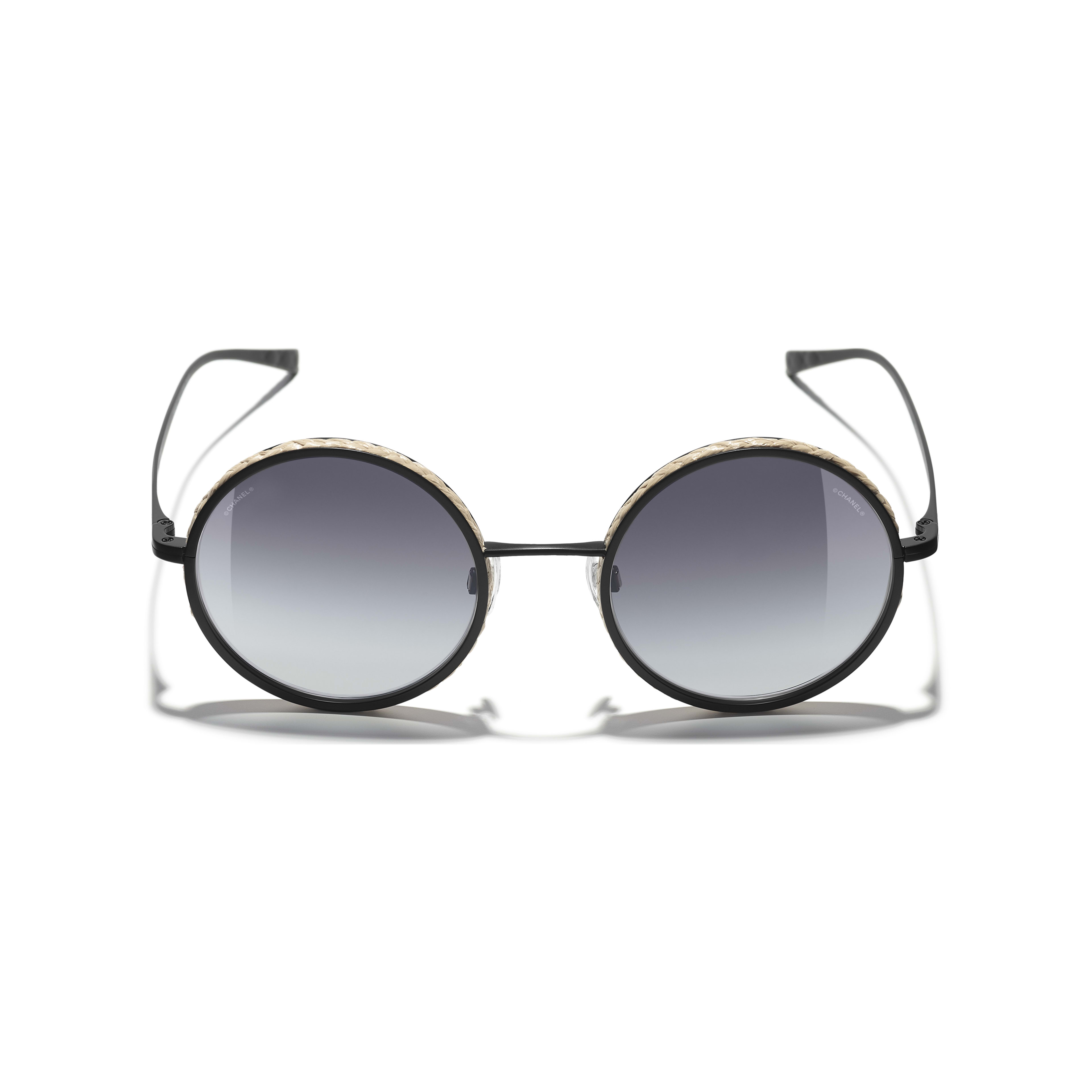 Round Sunglasses - Black - Metal & Rope - Extra view - see standard sized version