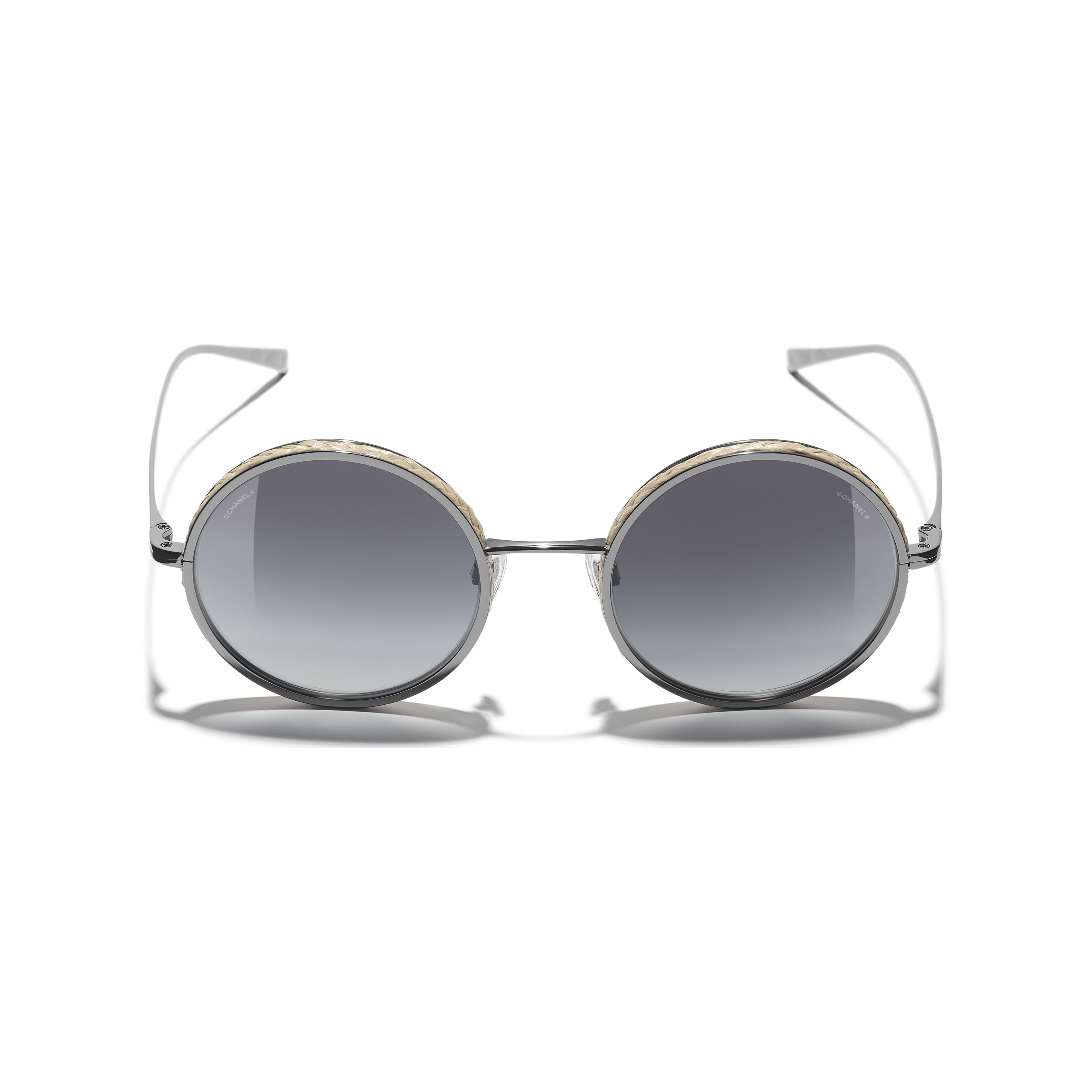 Round Sunglasses - Dark Silver - Metal & Rope - Extra view - see standard sized version
