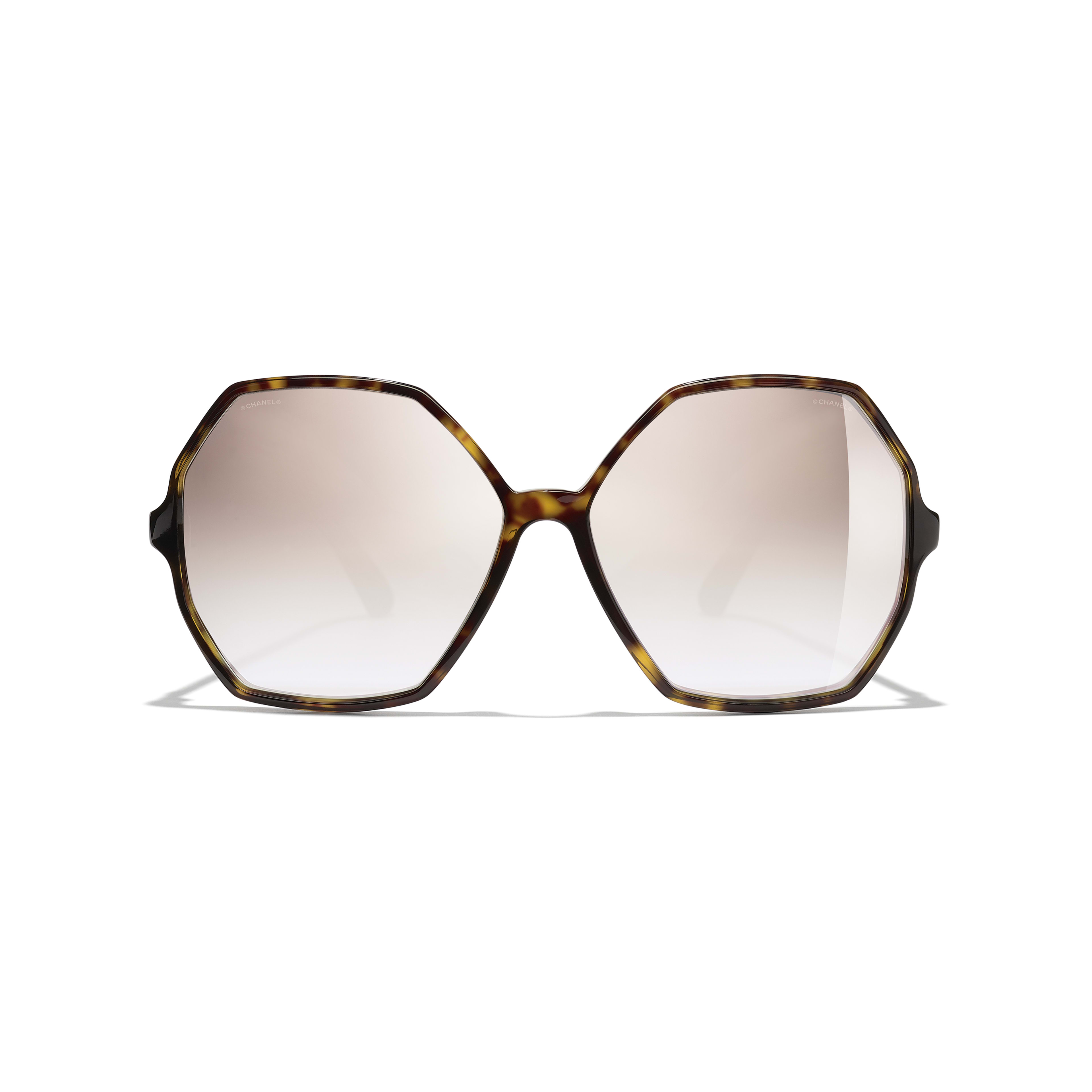Round Sunglasses - Dark Tortoise - Acetate, Wood & Rubber - CHANEL - Alternative view - see standard sized version