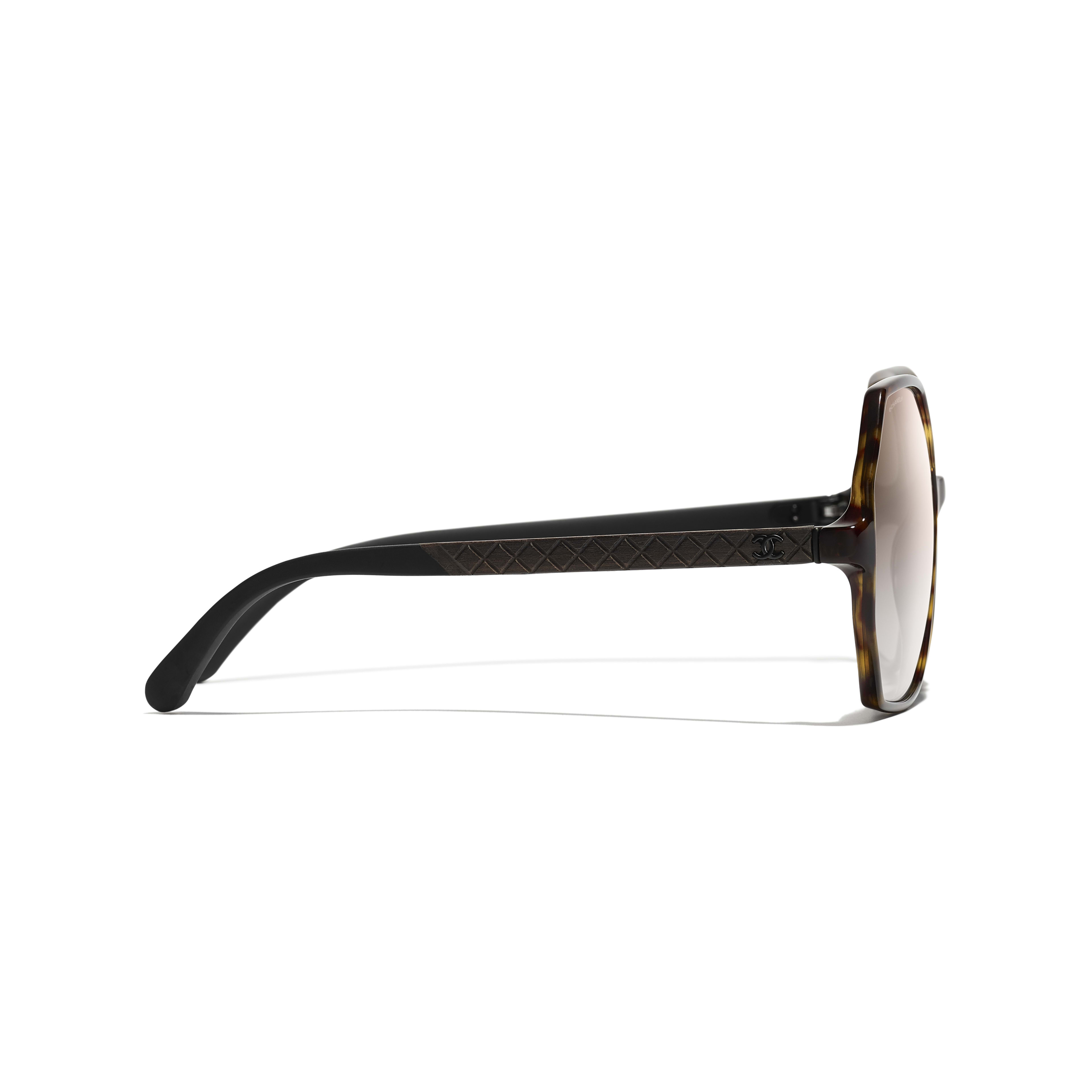 Round Sunglasses - Dark Tortoise - Acetate, Wood & Rubber - CHANEL - Other view - see standard sized version