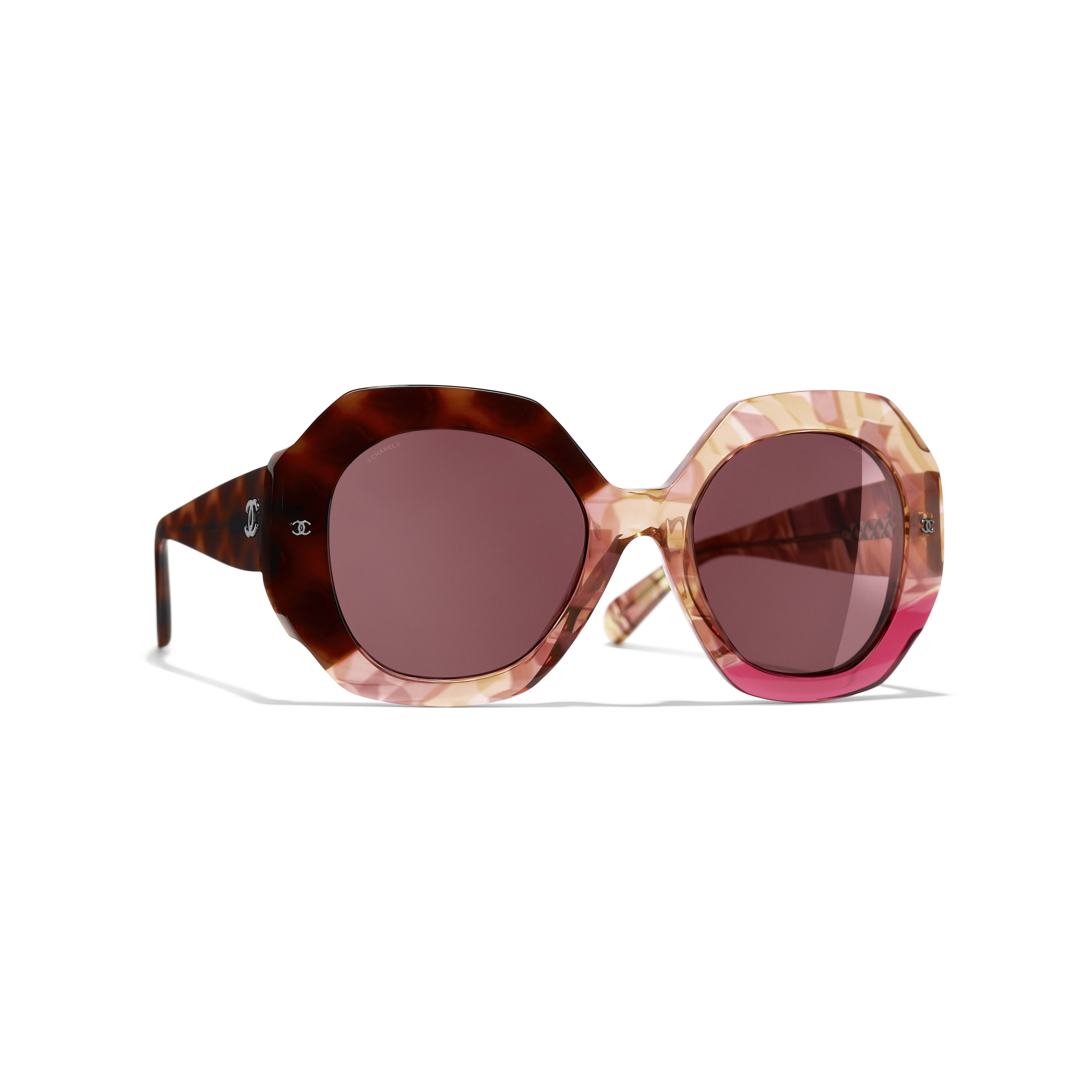 Round Sunglasses - Dark Tortoise & Pink - Acetate - CHANEL - Default view - see standard sized version