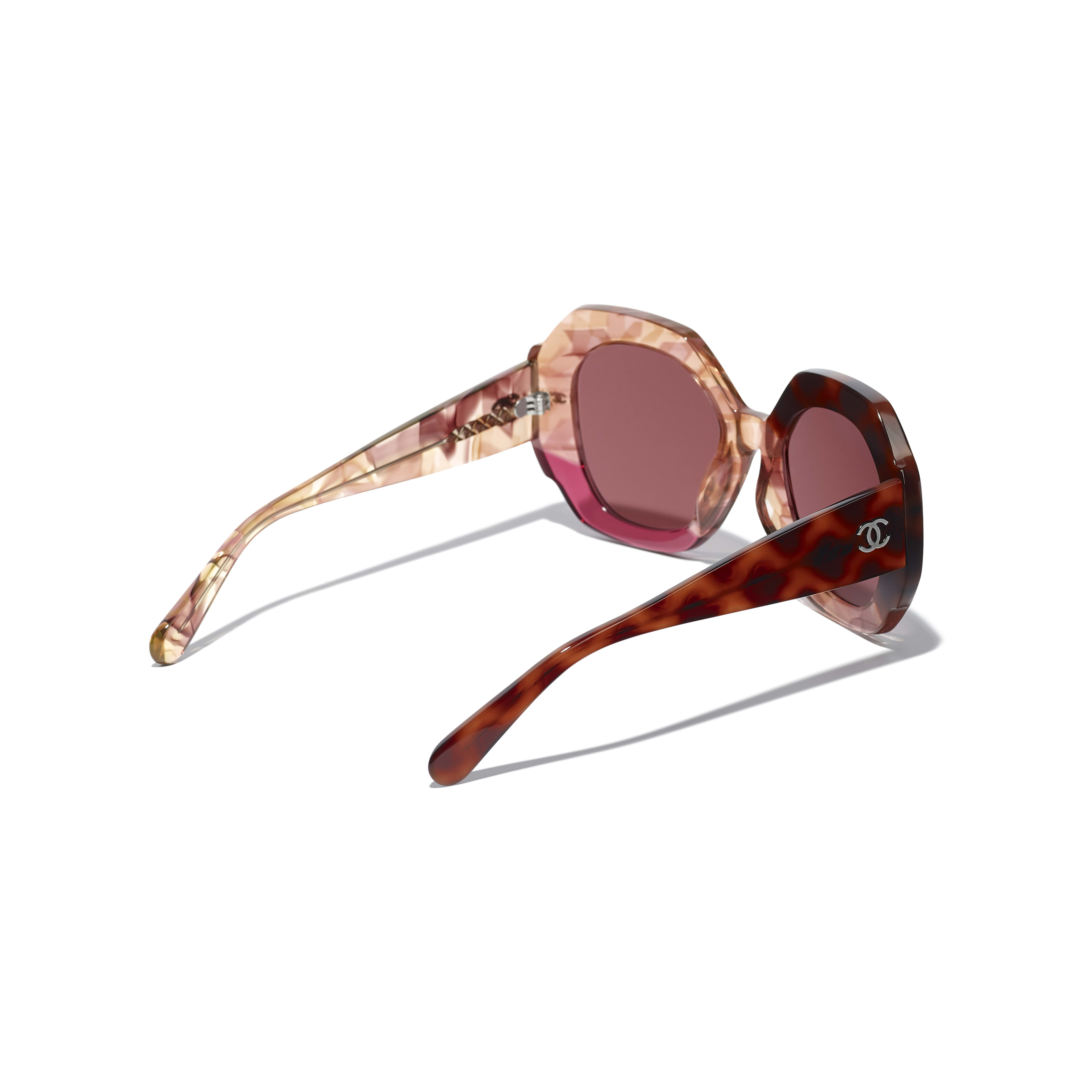 Round Sunglasses - Dark Tortoise & Pink - Acetate - CHANEL - Extra view - see standard sized version