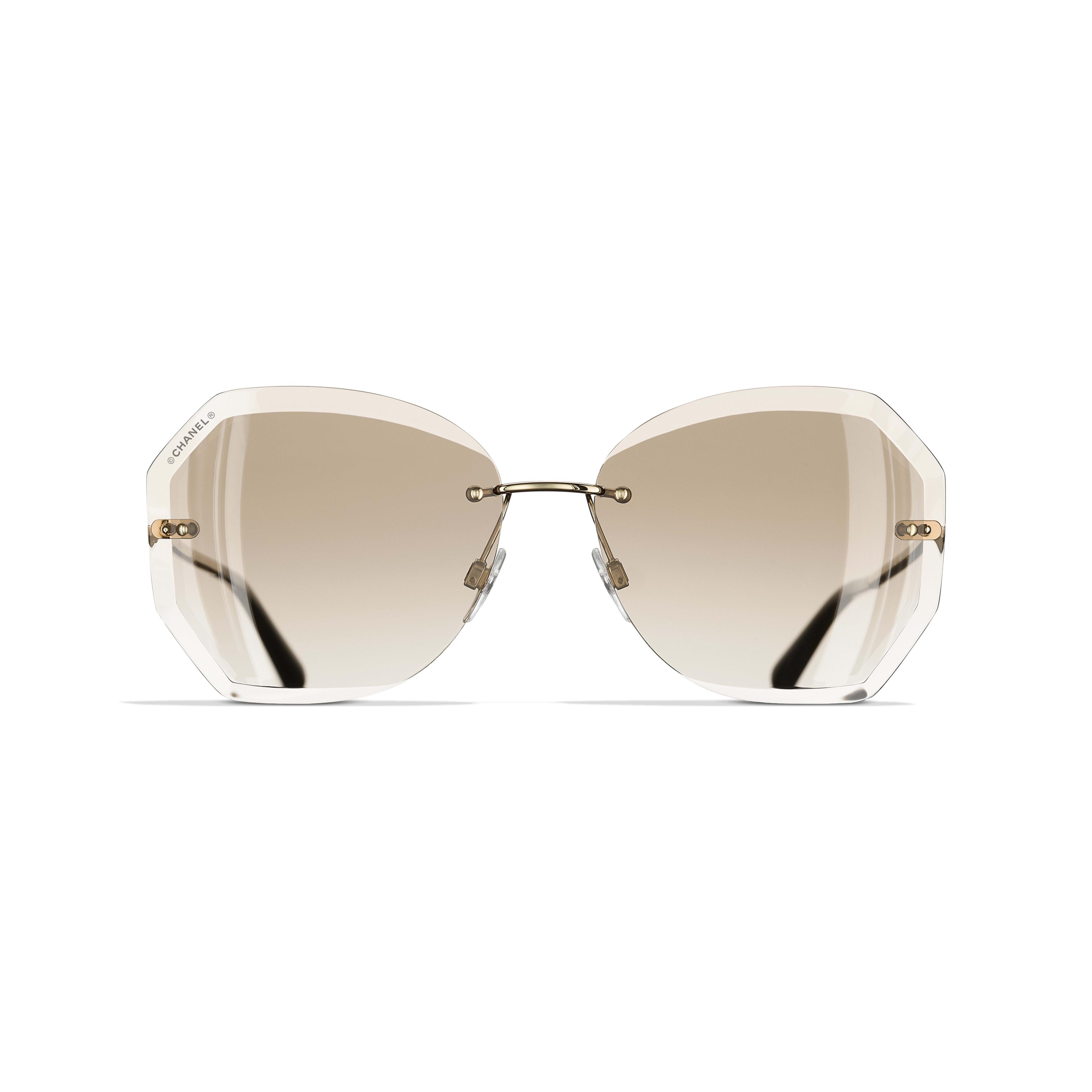 Gafas de sol redondas - Dorado y beige - Metal - CHANEL - Vista alternativa - ver la versión tamaño estándar