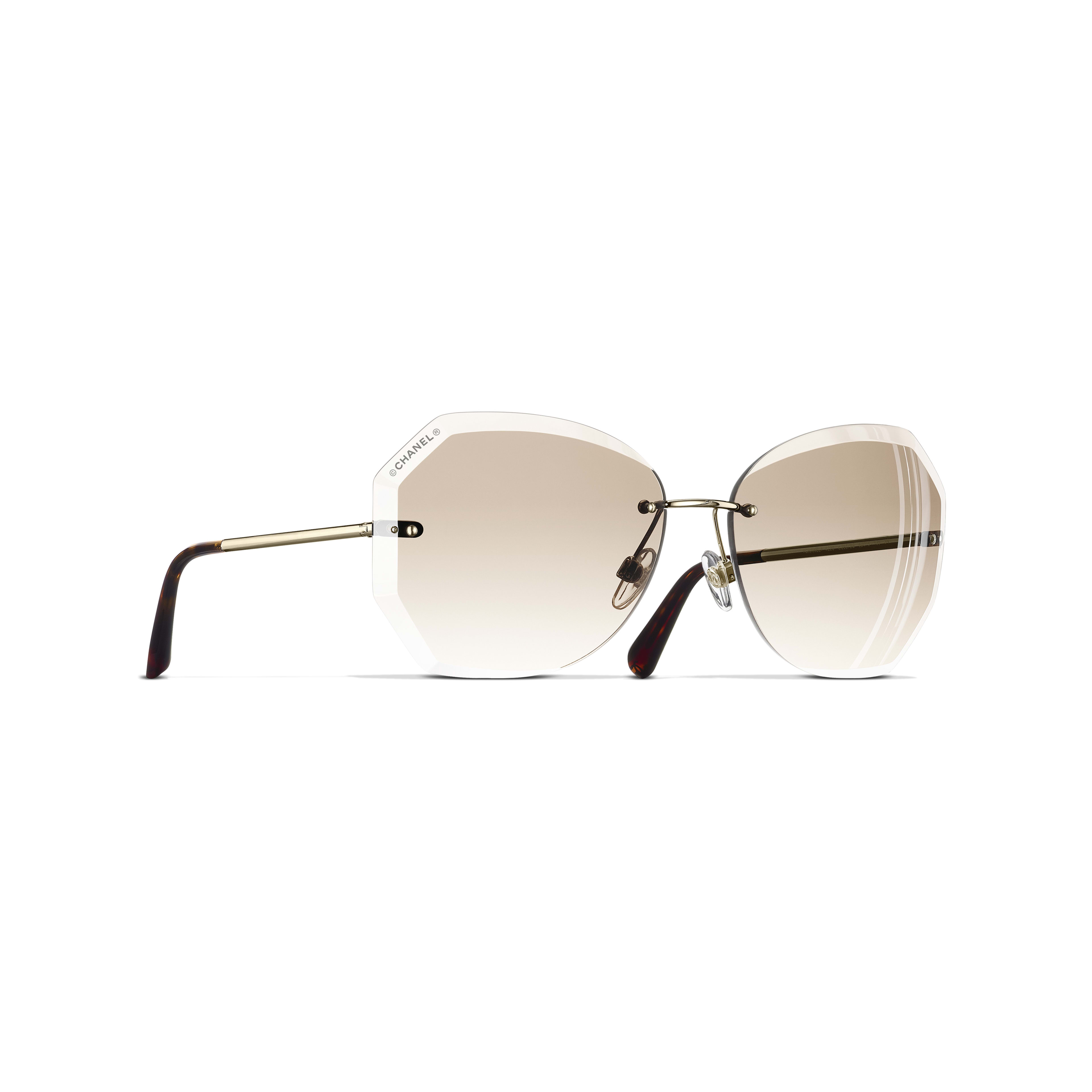 Gafas de sol redondas - Dorado y beige - Metal - CHANEL - Vista por defecto - ver la versión tamaño estándar