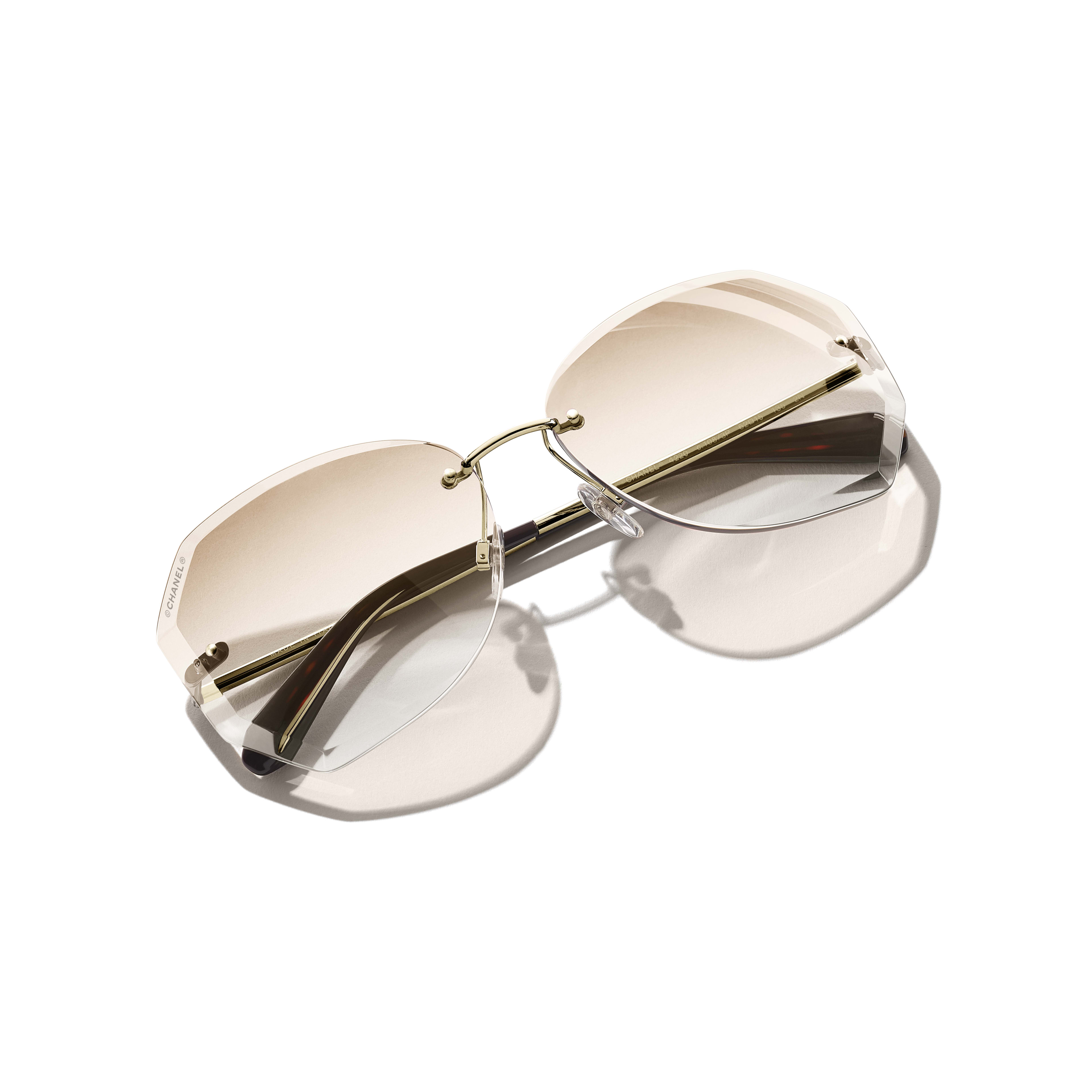 Round Sunglasses - Gold & Beige - Metal - CHANEL - Extra view - see standard sized version