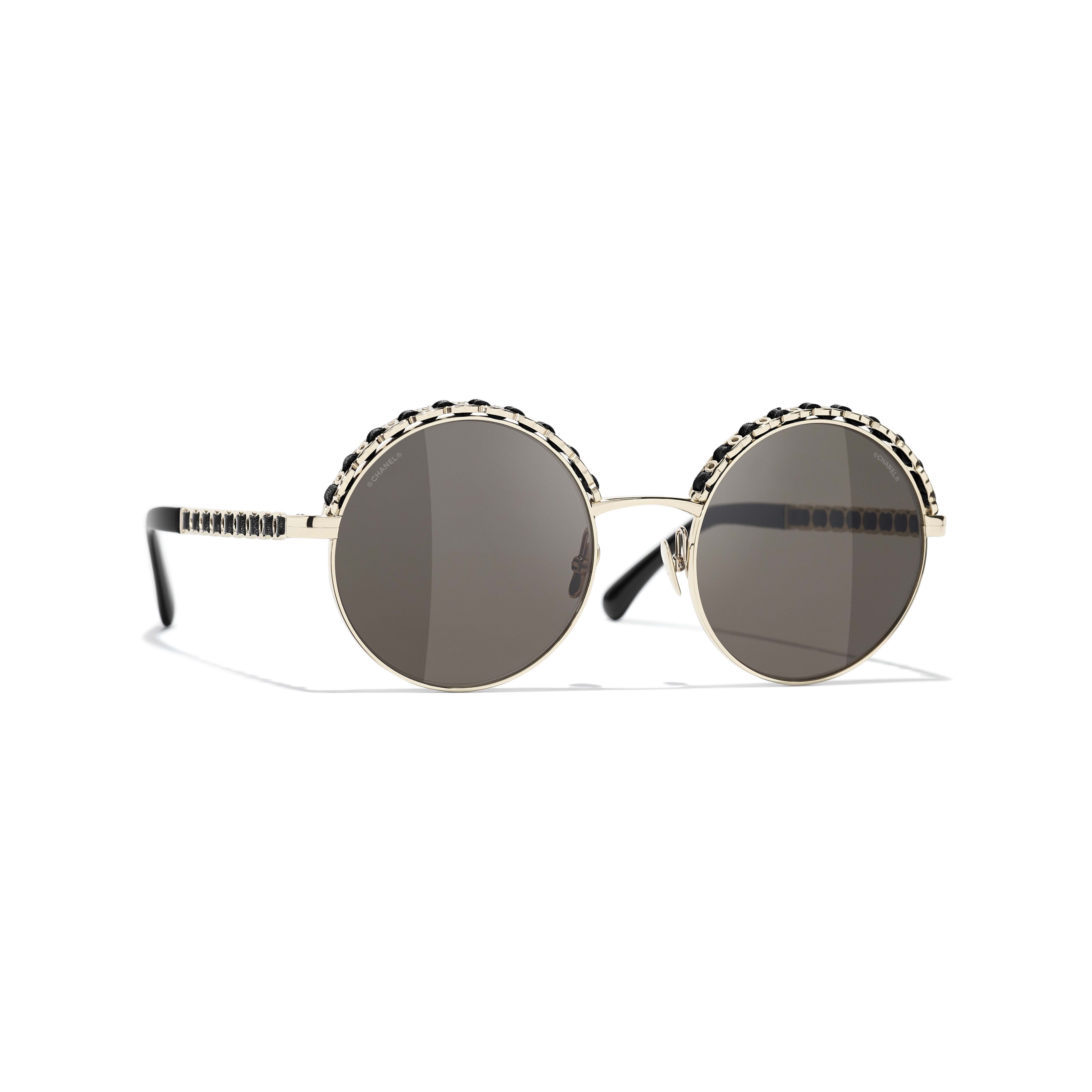 Round Sunglasses - Gold & Black - Metal & Calfskin - CHANEL - Default view - see standard sized version