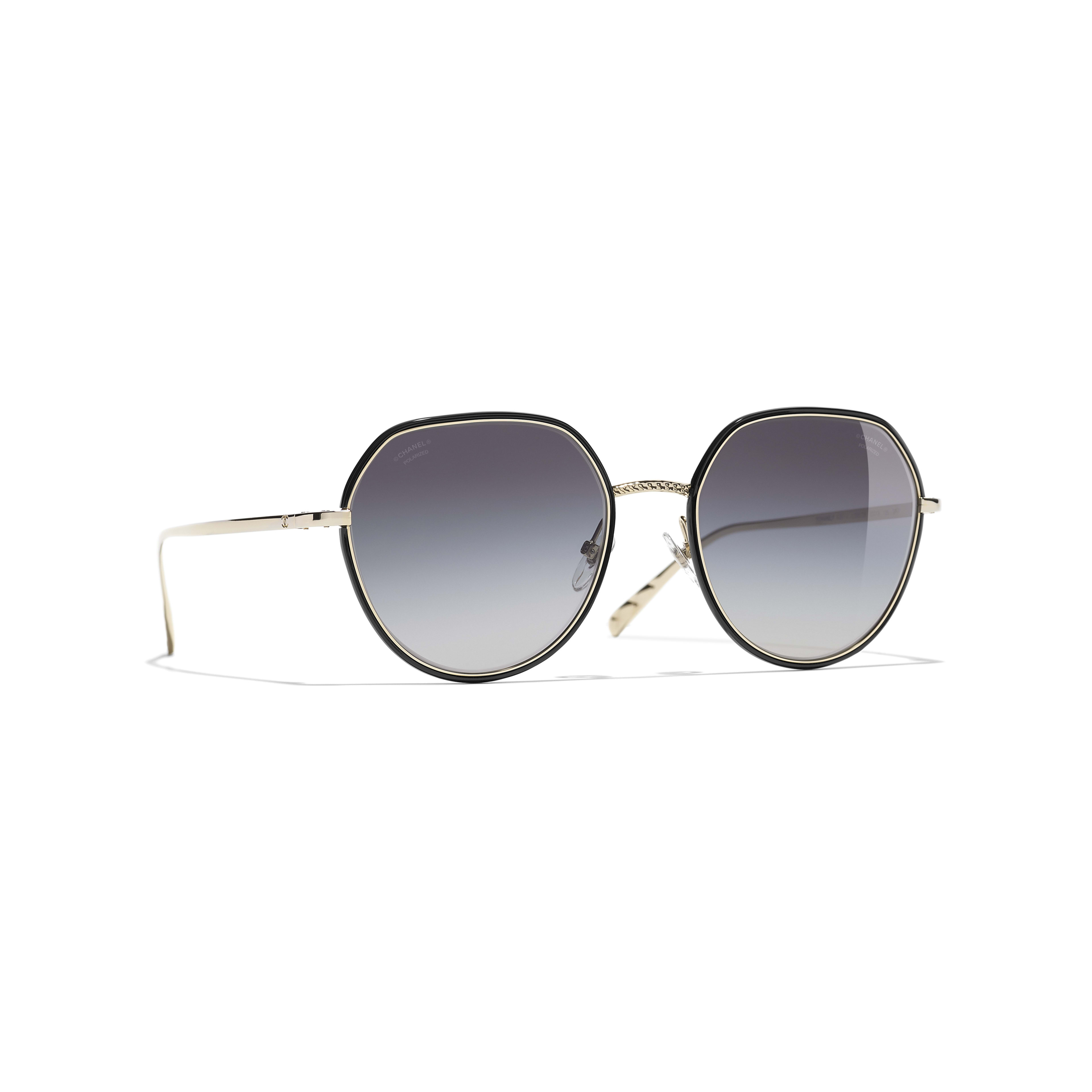 Round Sunglasses - Gold & Black - Metal - Polarized Lenses - Default view - see standard sized version