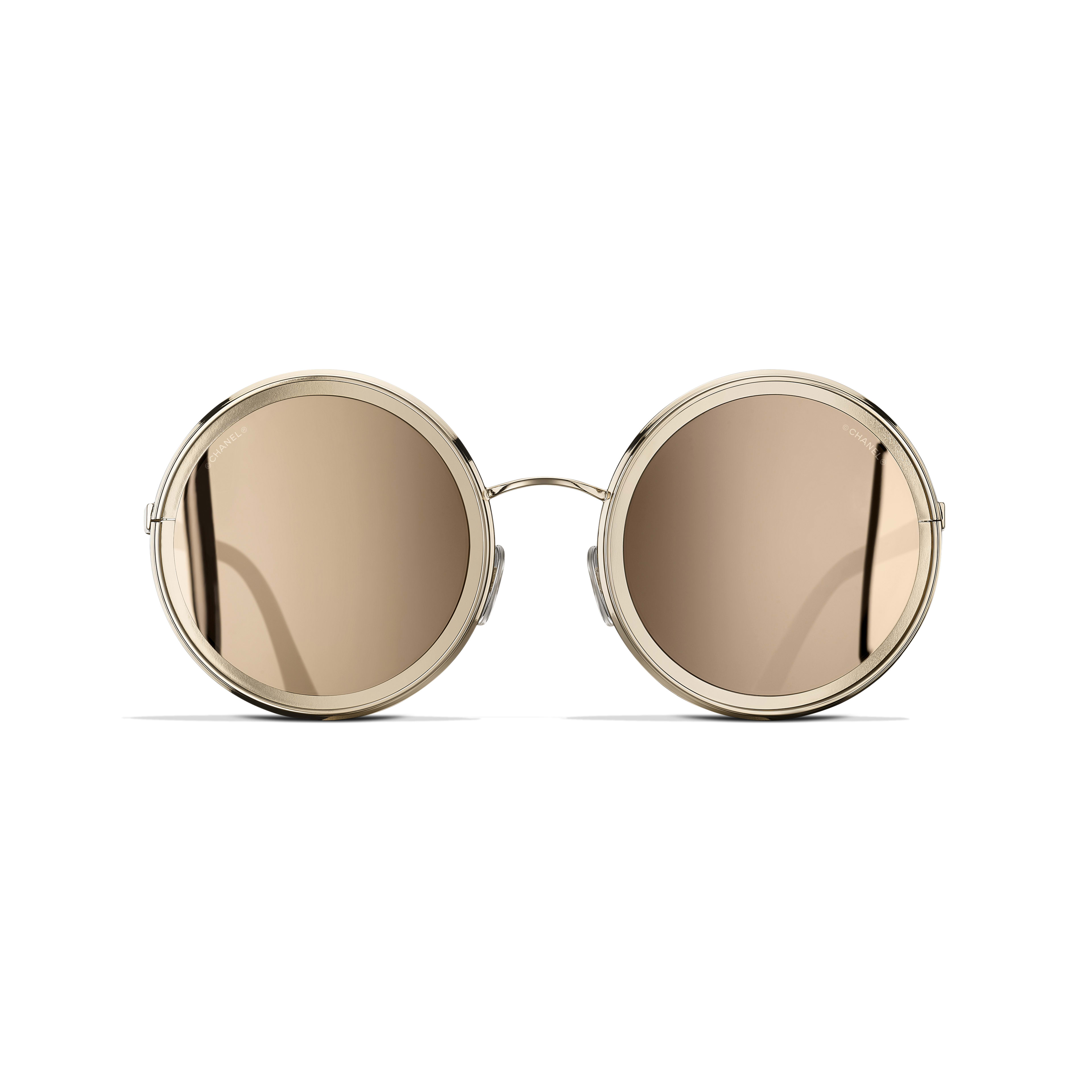 Round Sunglasses - Gold - Metal - 18-Karat Gold Lenses - Alternative view - see standard sized version