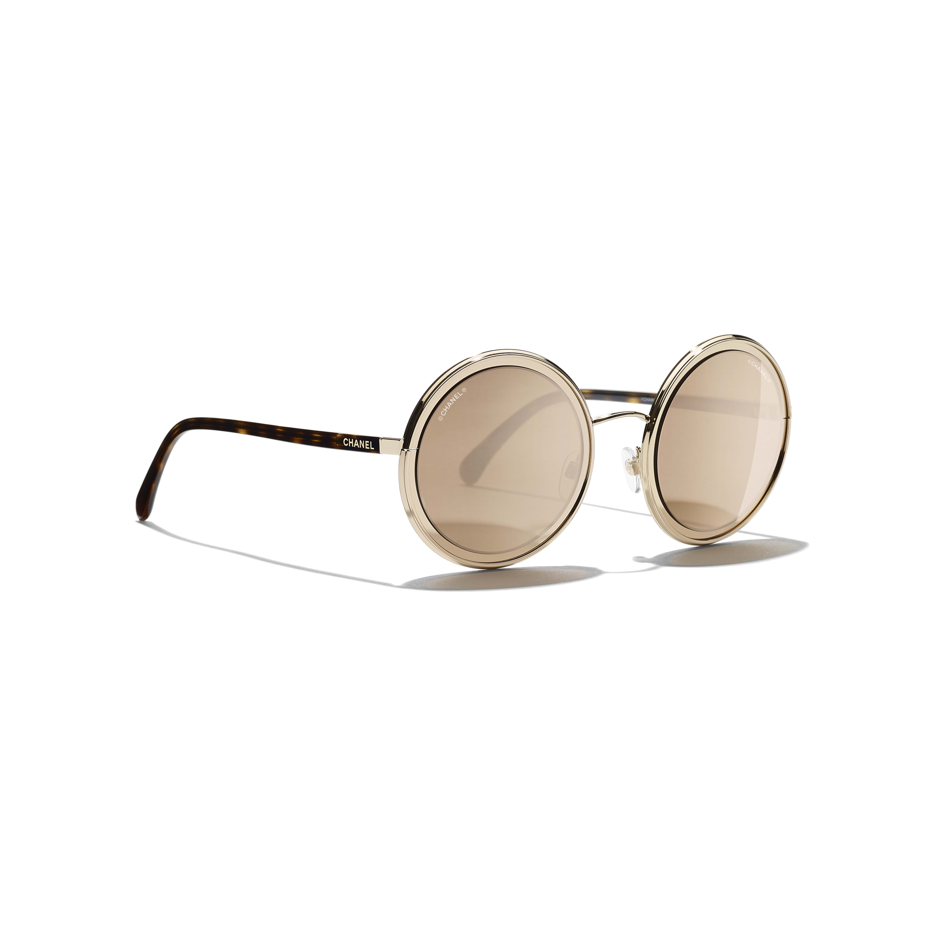 Round Sunglasses - Gold - Metal - 18-Karat Gold Lenses - Extra view - see standard sized version