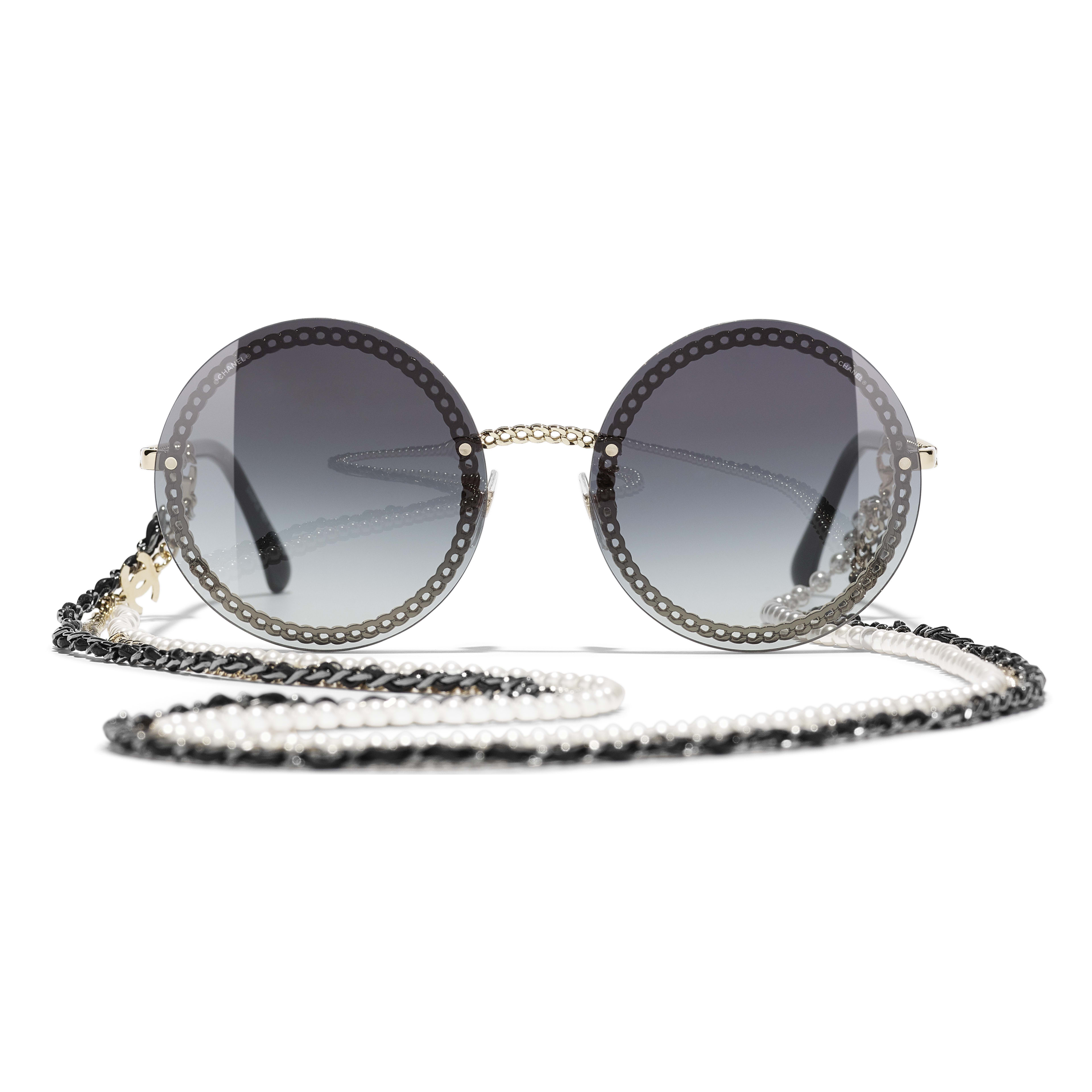 Round Sunglasses - Gold - Metal, Calfskin & Imitation Pearls - CHANEL - Alternative view - see standard sized version