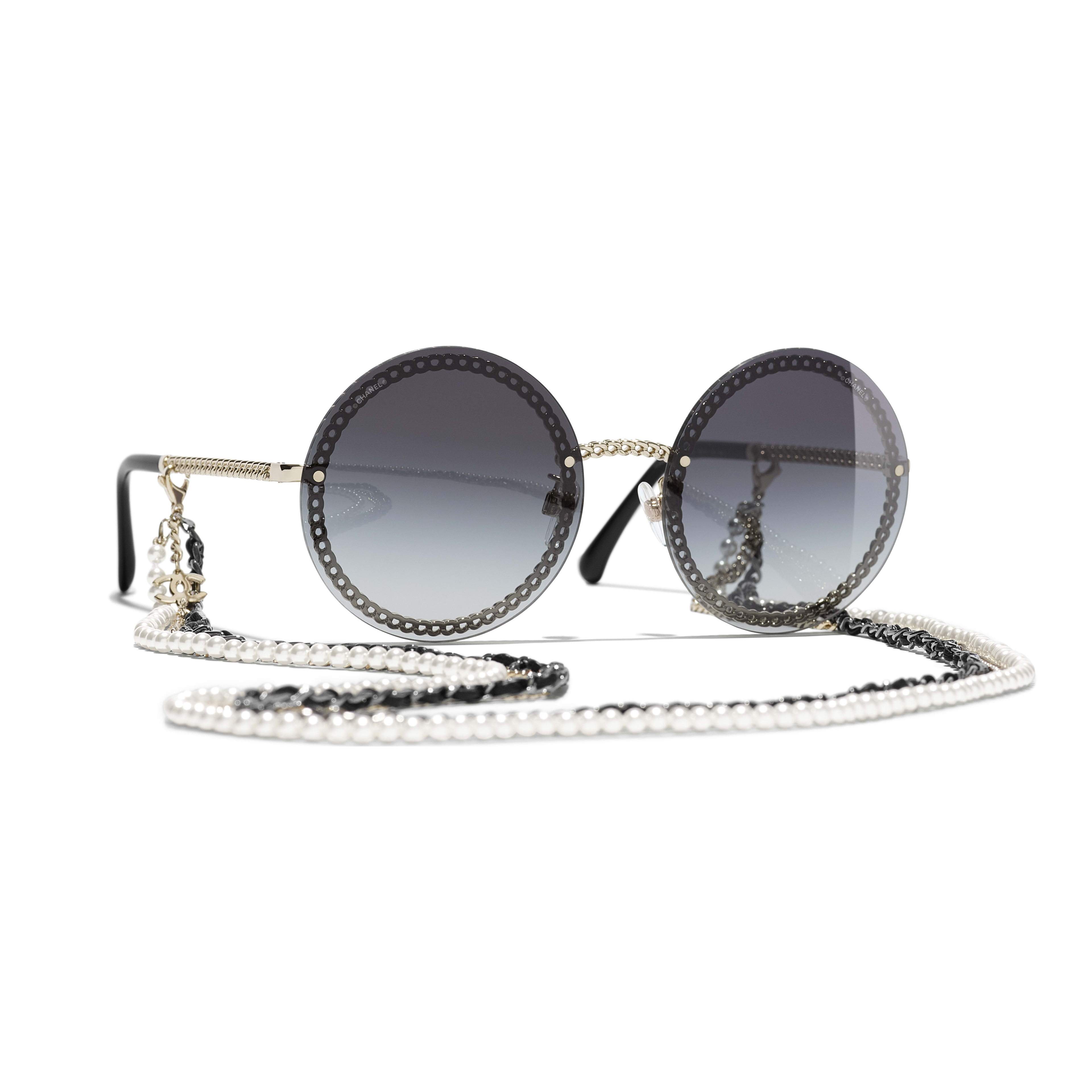 Round Sunglasses - Gold - Metal, Calfskin & Imitation Pearls - CHANEL - Default view - see standard sized version