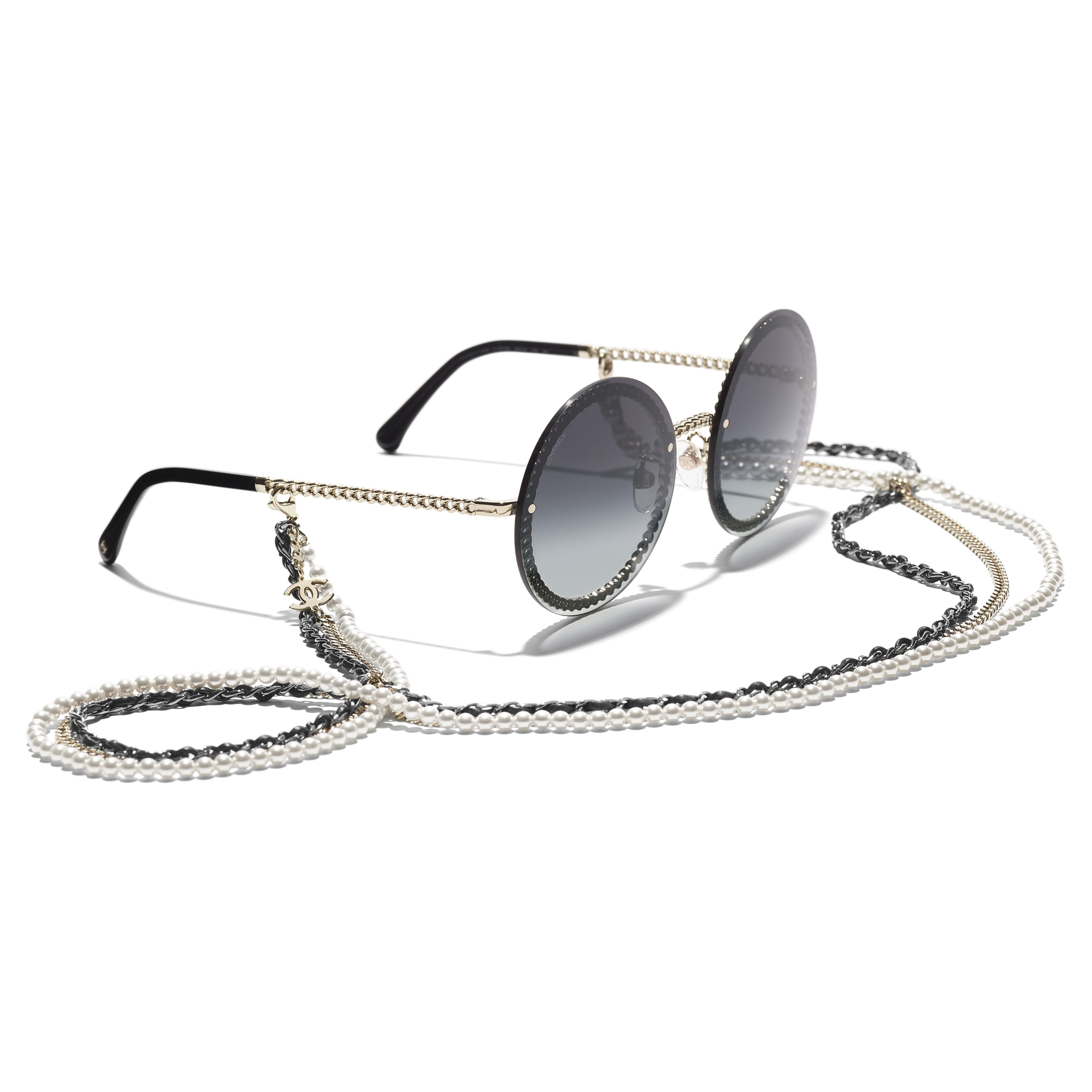Round Sunglasses - Gold - Metal, Calfskin & Imitation Pearls - CHANEL - Extra view - see standard sized version