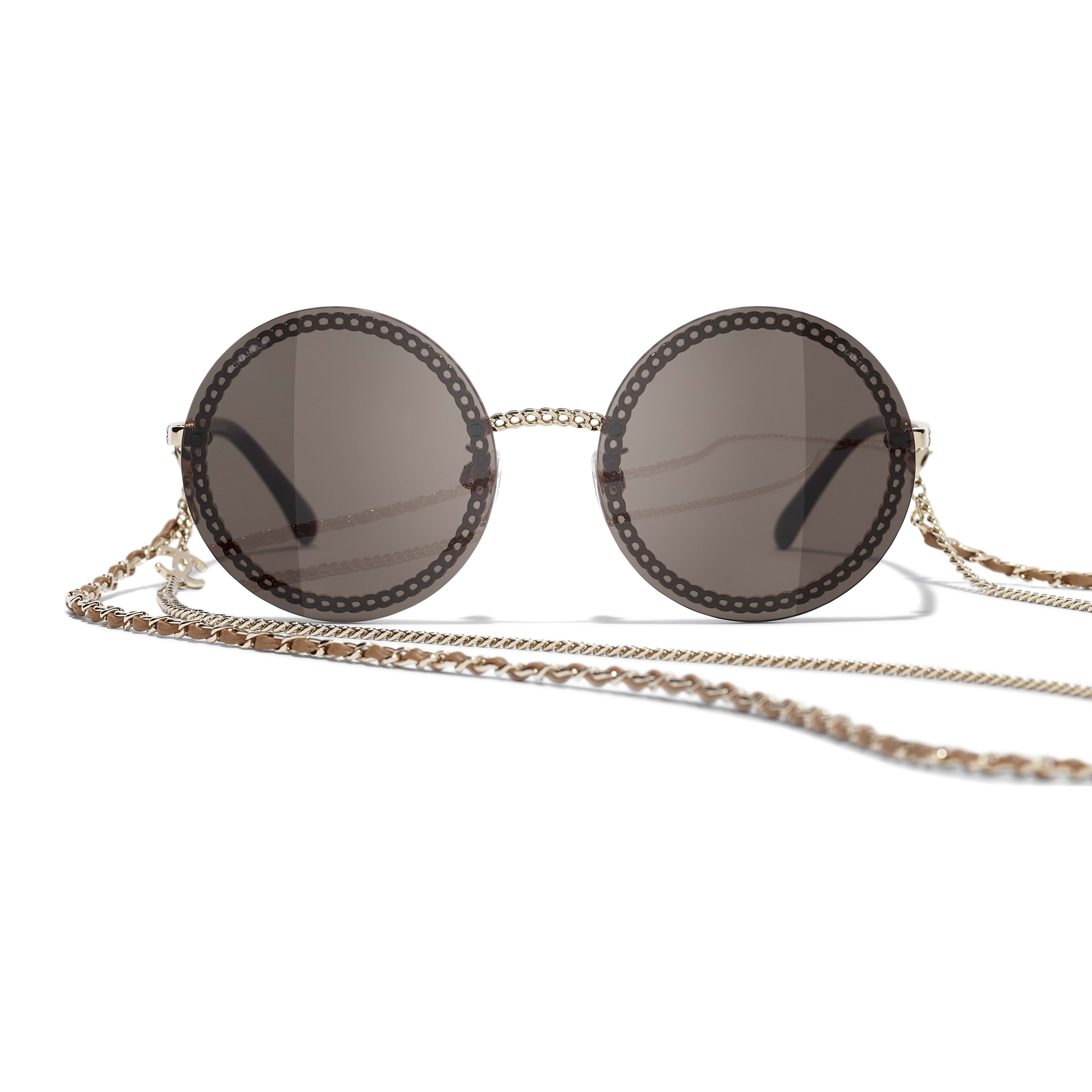 Round Sunglasses - Gold - Metal & Calfskin - CHANEL - Alternative view - see standard sized version
