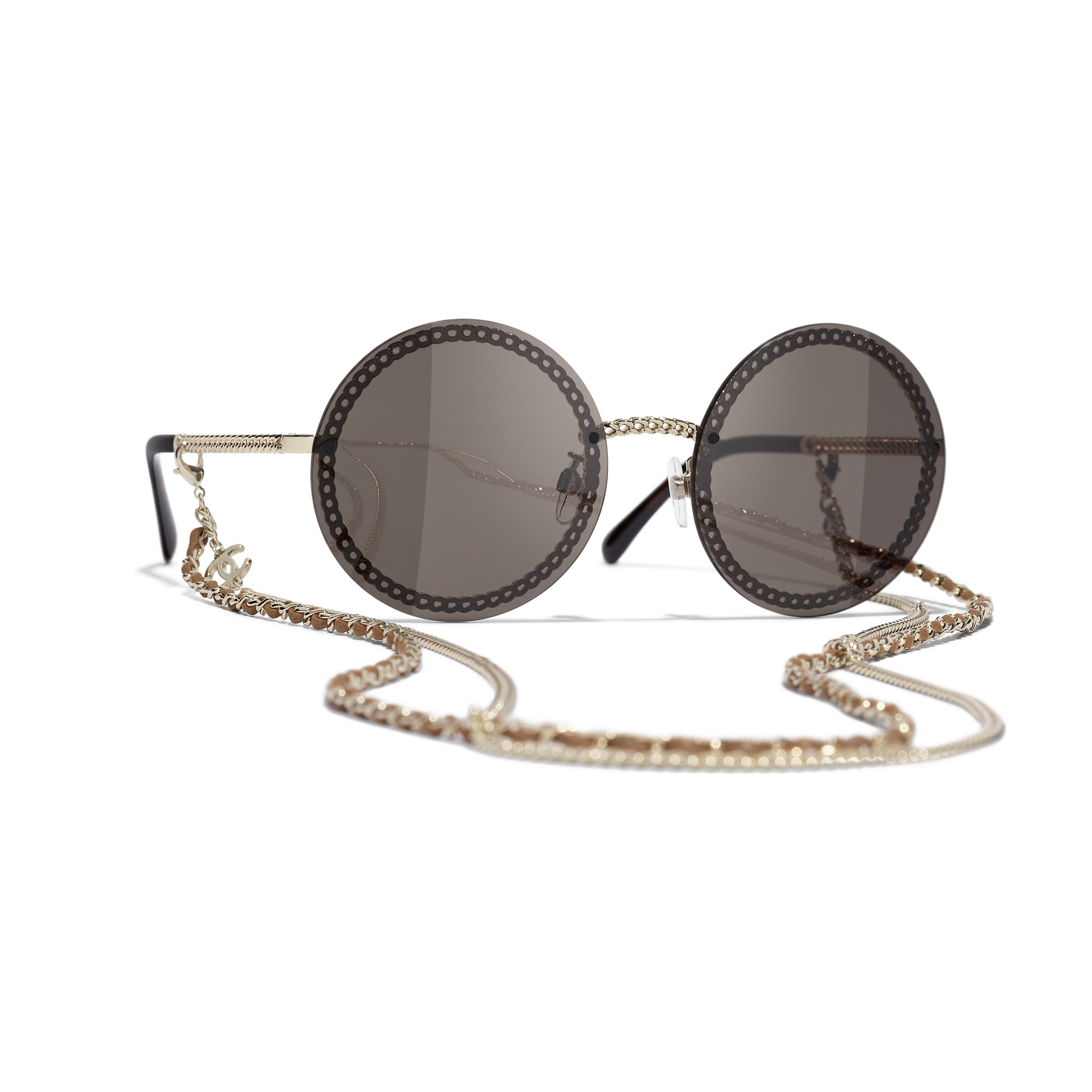 Round Sunglasses - Gold - Metal & Calfskin - CHANEL - Default view - see standard sized version