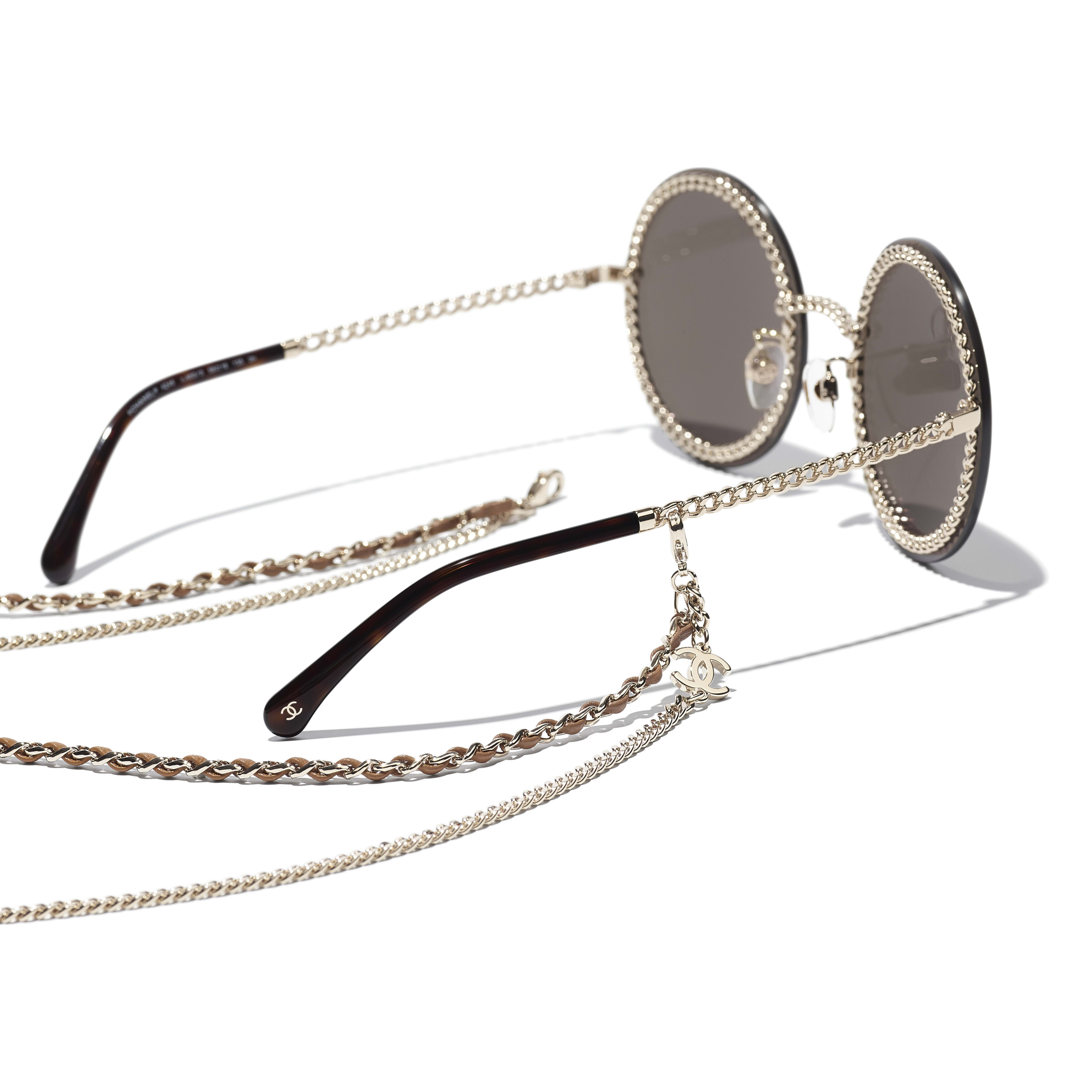 Round Sunglasses - Gold - Metal & Calfskin - CHANEL - Extra view - see standard sized version
