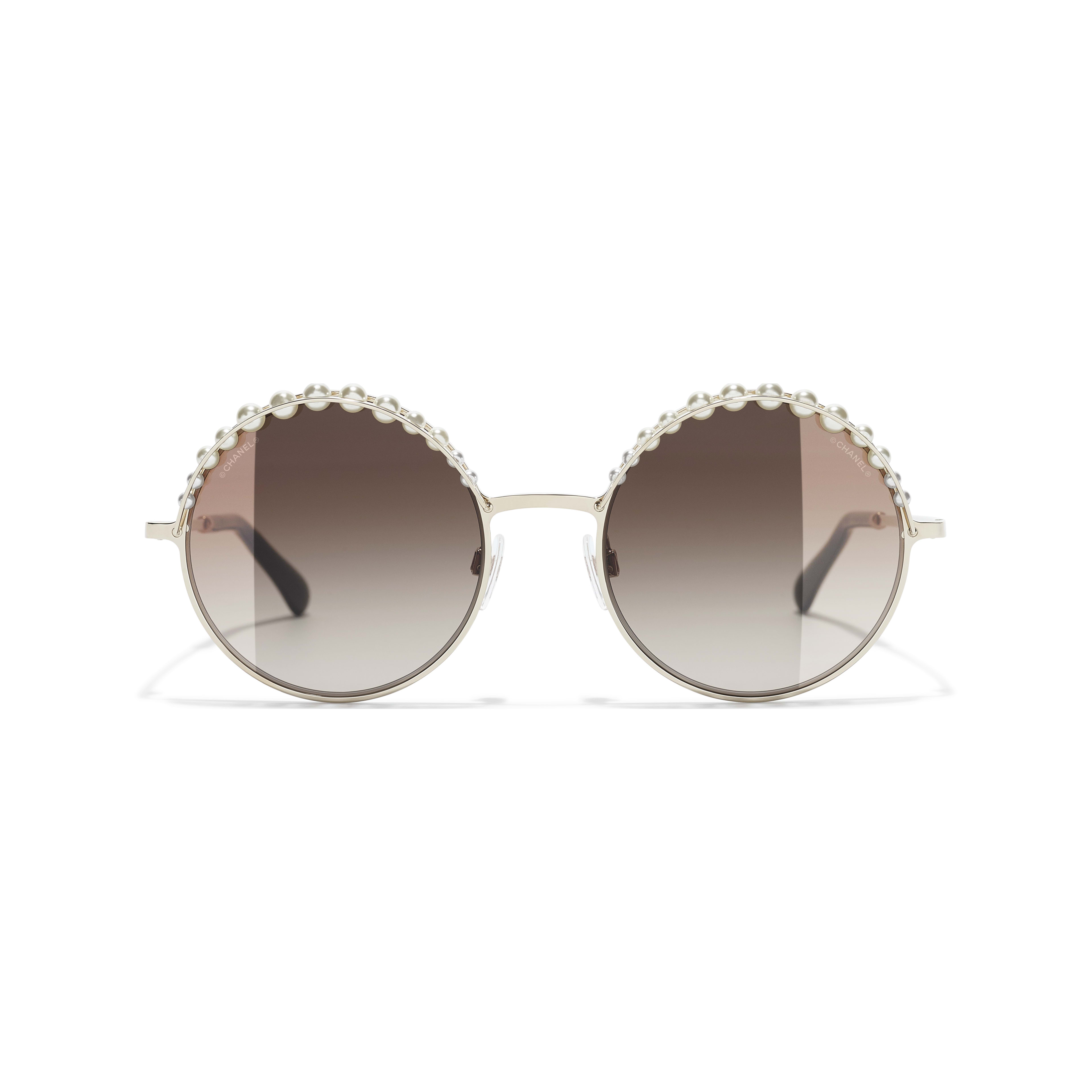 Round Sunglasses - Gold - Metal & Imitation Pearls - CHANEL - Alternative view - see standard sized version
