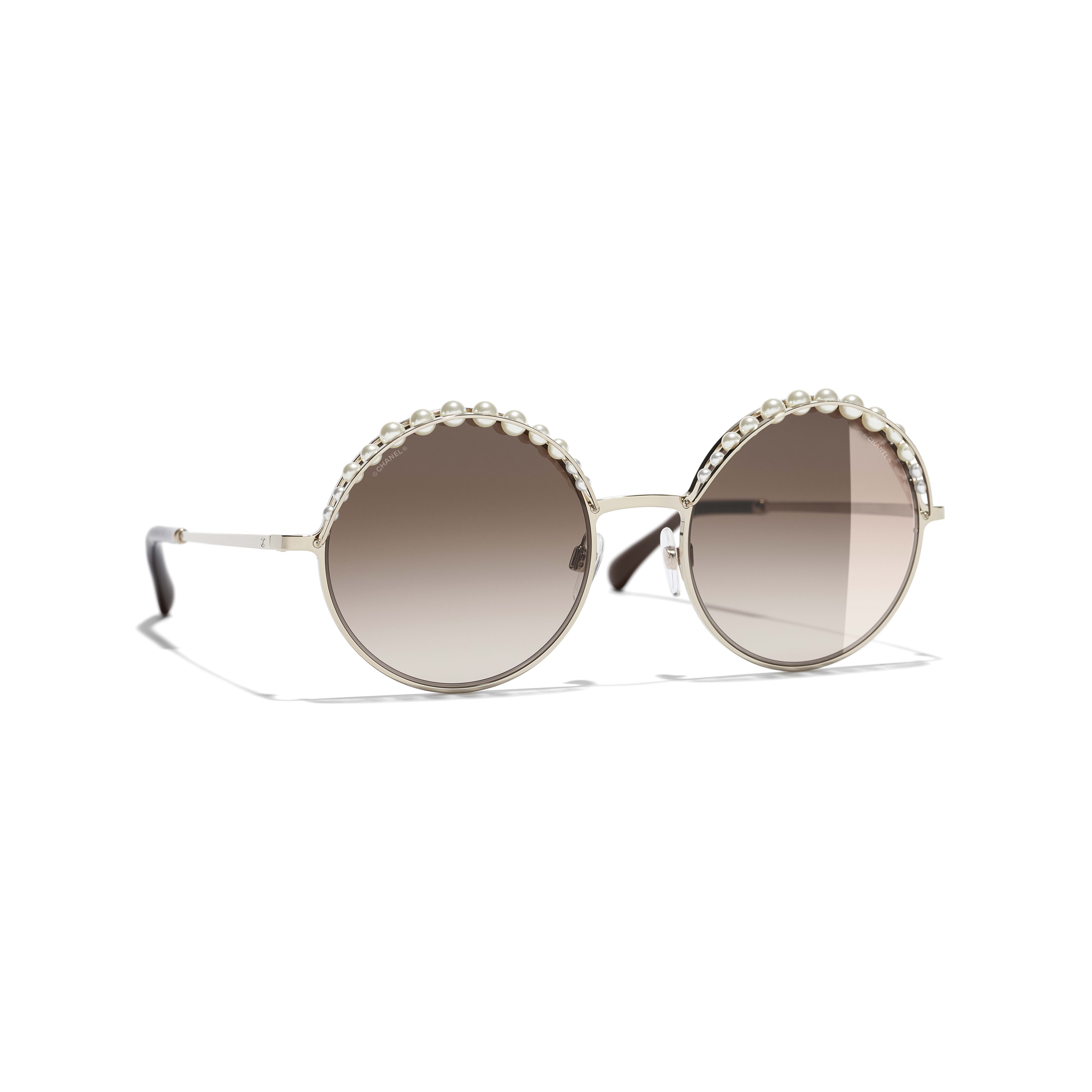 Round Sunglasses - Gold - Metal & Imitation Pearls - Default view - see standard sized version