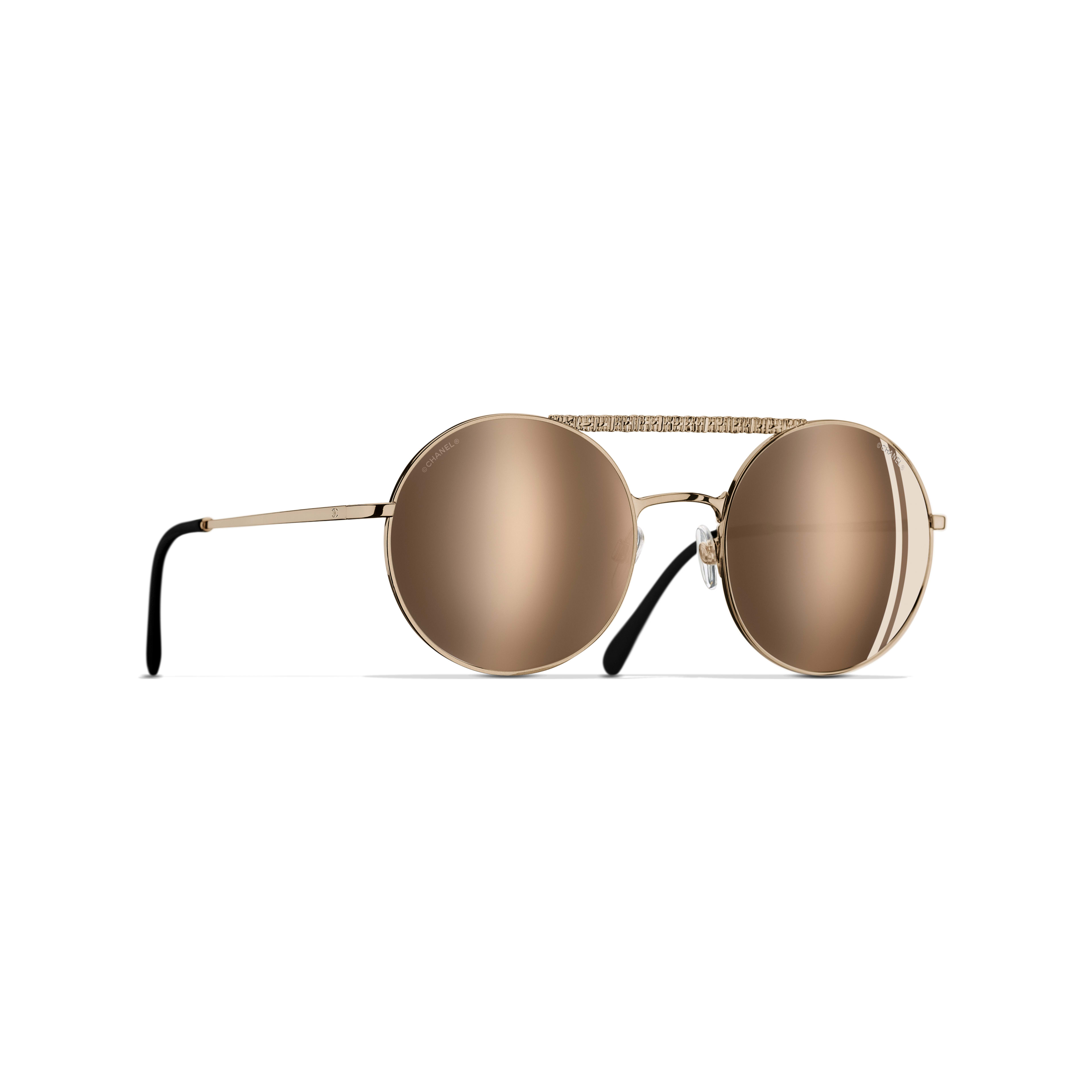 Round Sunglasses - Gold - Metal - Default view - see standard sized version