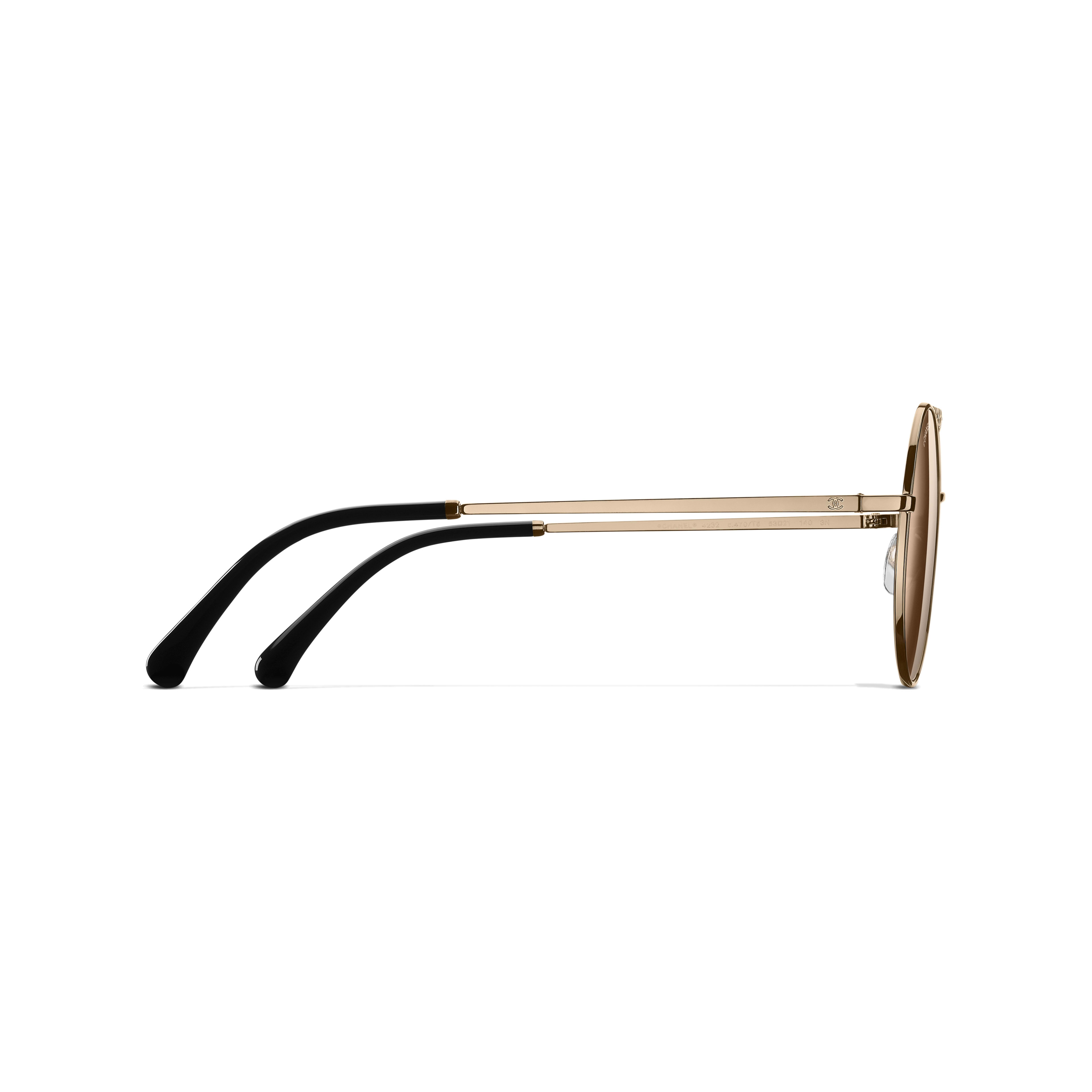 Round Sunglasses - Gold - Metal - Other view - see standard sized version